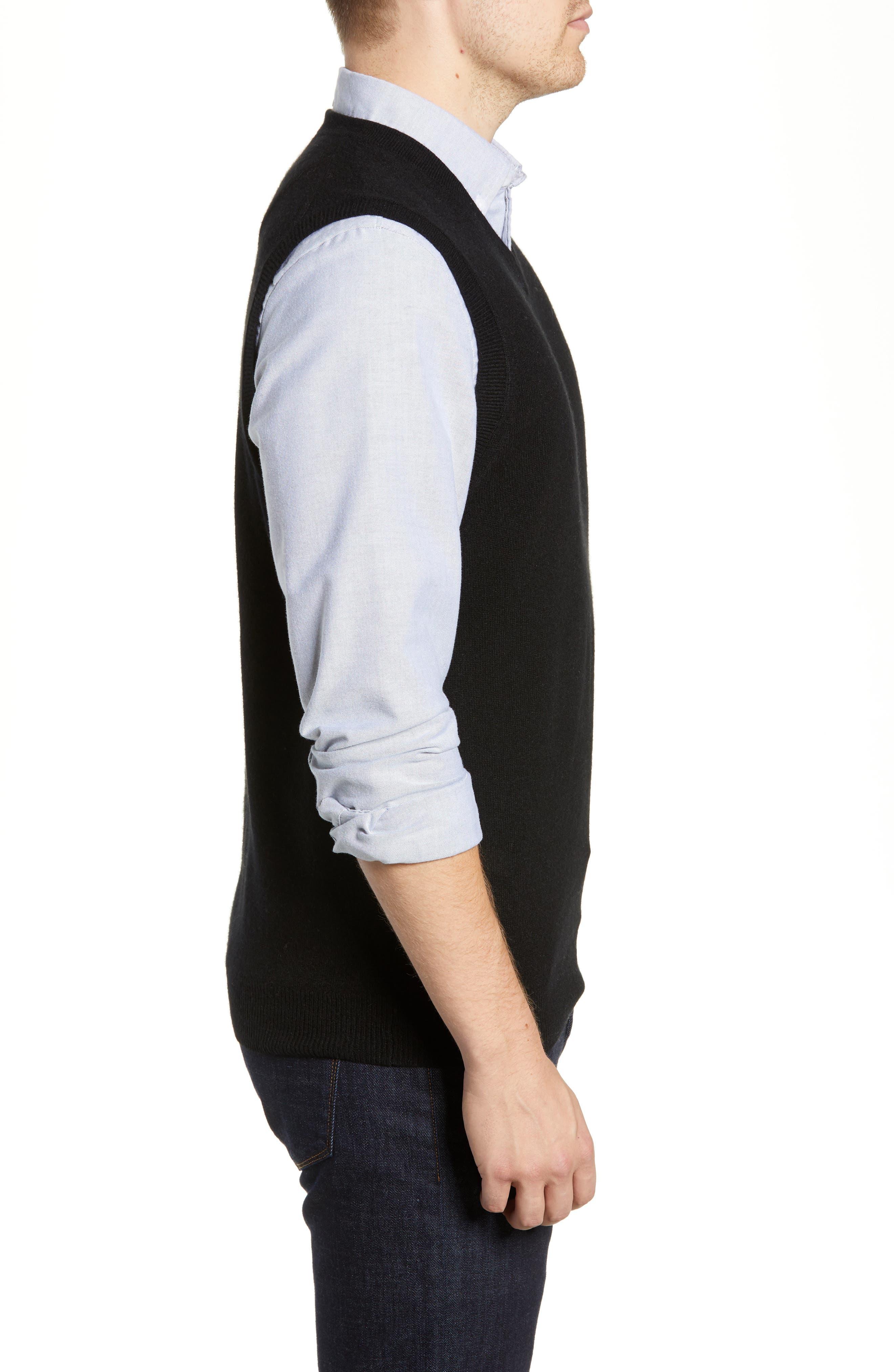 Cashmere V-Neck Sweater Vest,                             Alternate thumbnail 3, color,                             BLACK CAVIAR