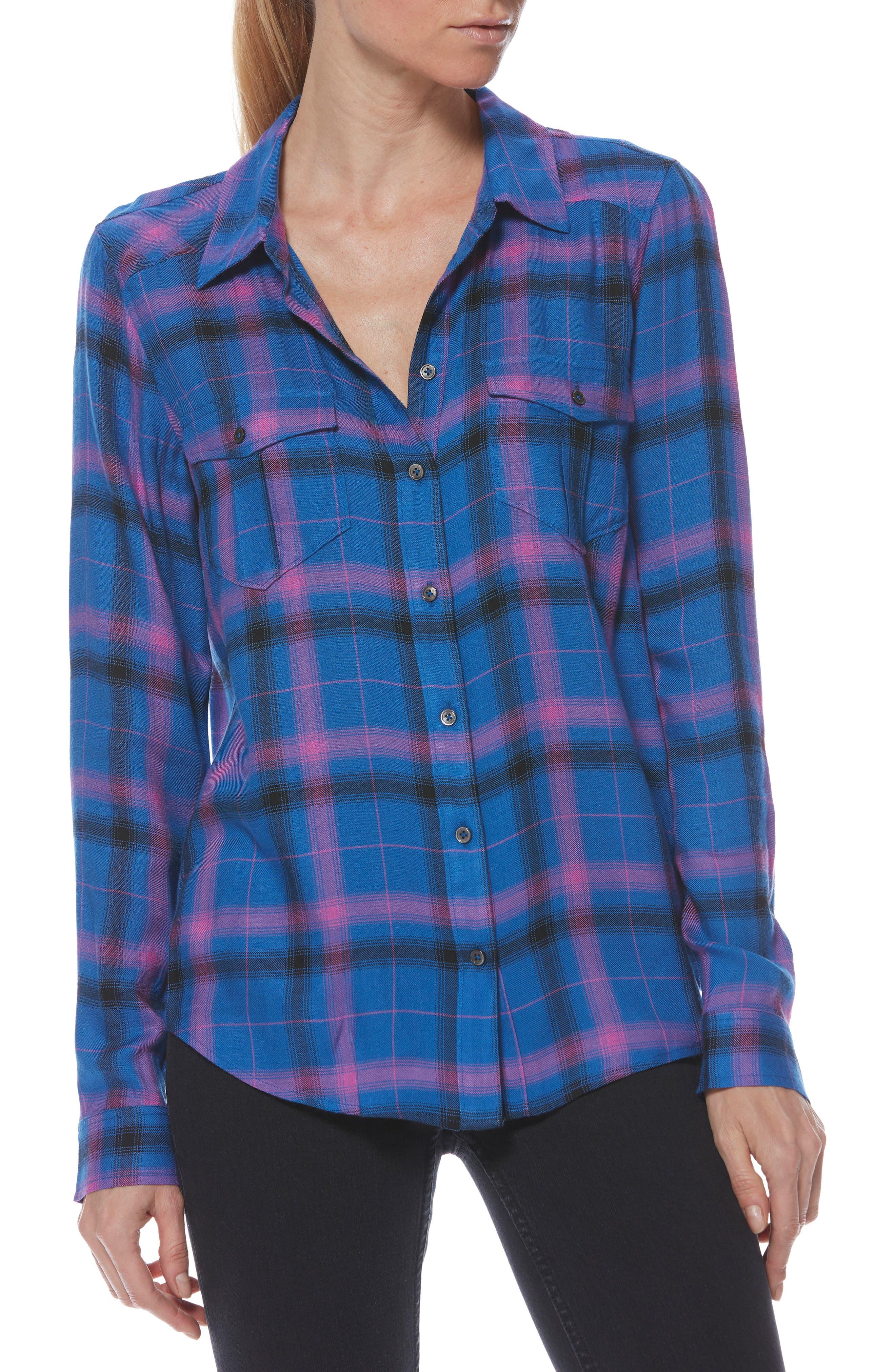 Mya Plaid Shirt,                             Main thumbnail 1, color,                             BRIGHT CROWN BLUE MULTI