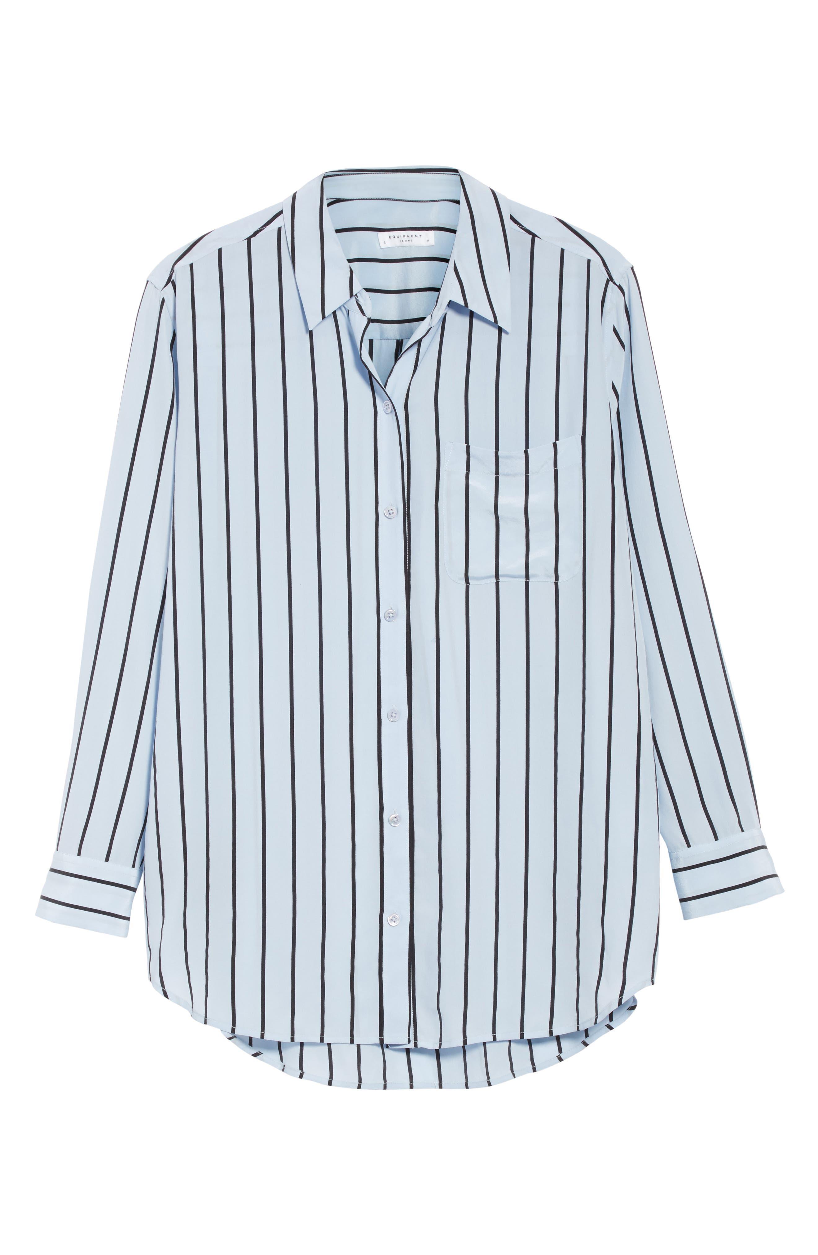 Daddy Oversize Stripe Silk Shirt,                             Alternate thumbnail 6, color,                             469