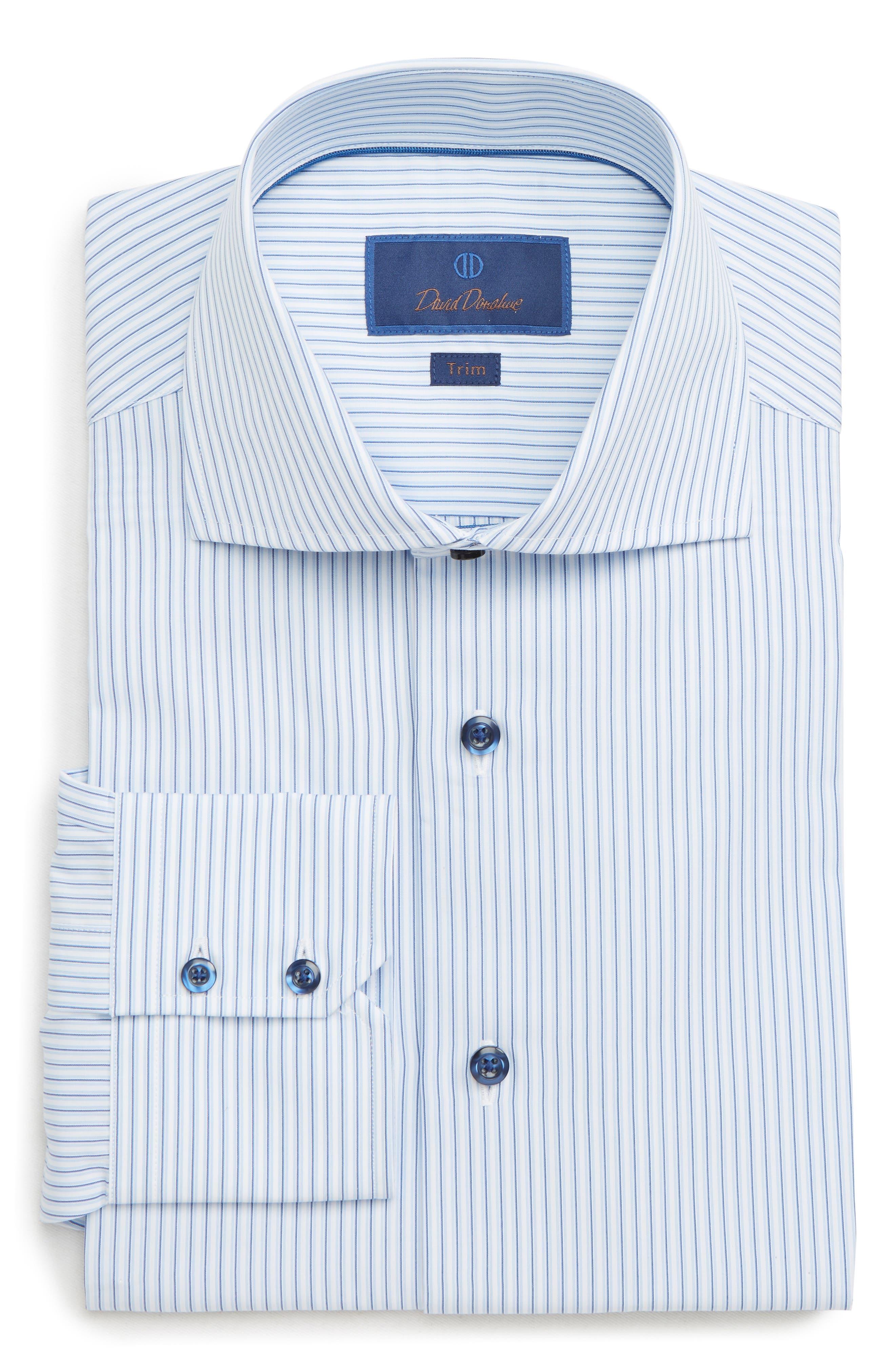 Trim Fit Stripe Dress Shirt,                         Main,                         color, WHITE/ BLUE