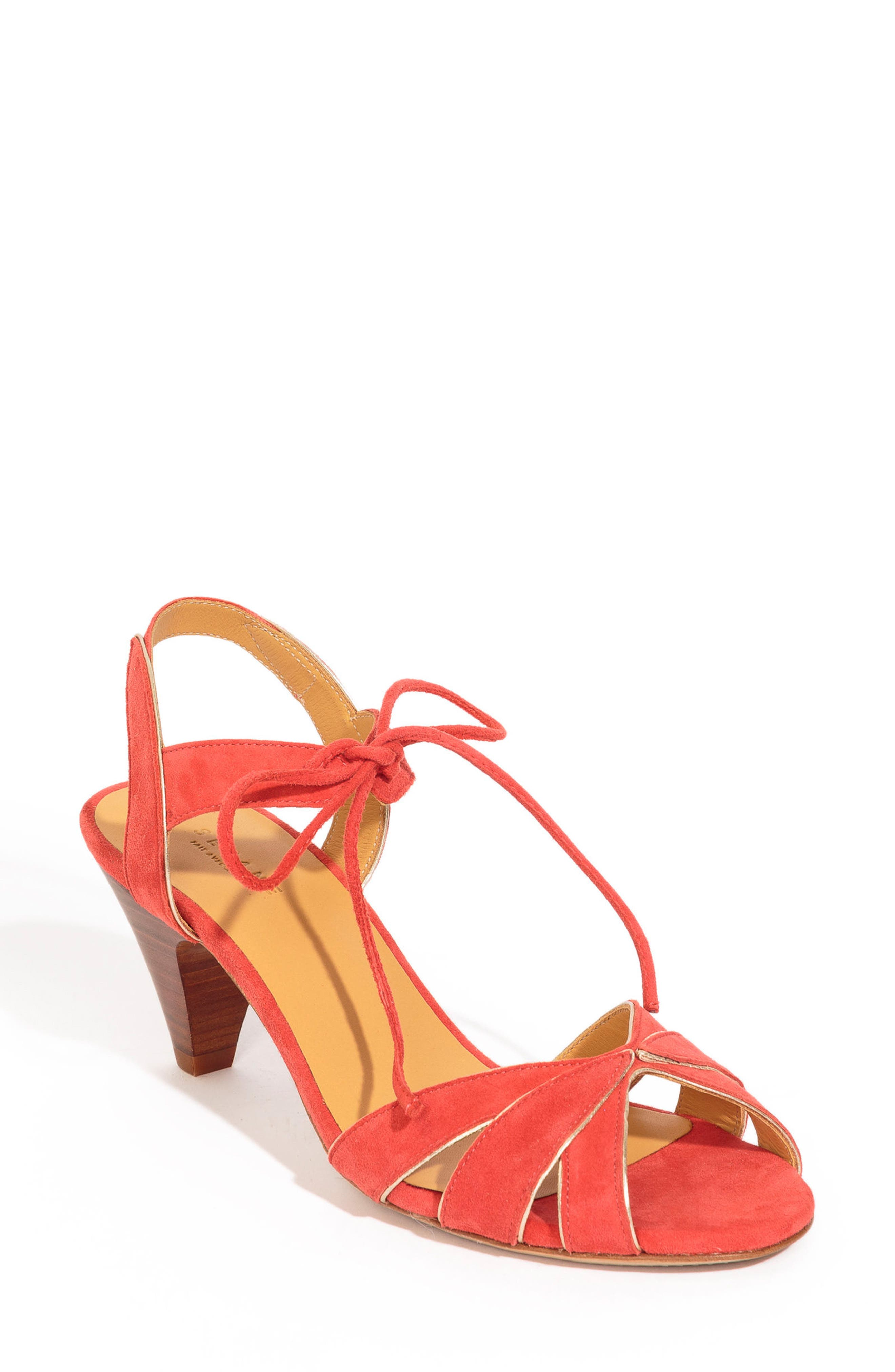 Victoire Ankle Tie Sandal,                             Main thumbnail 1, color,                             CORAL RED SUEDE