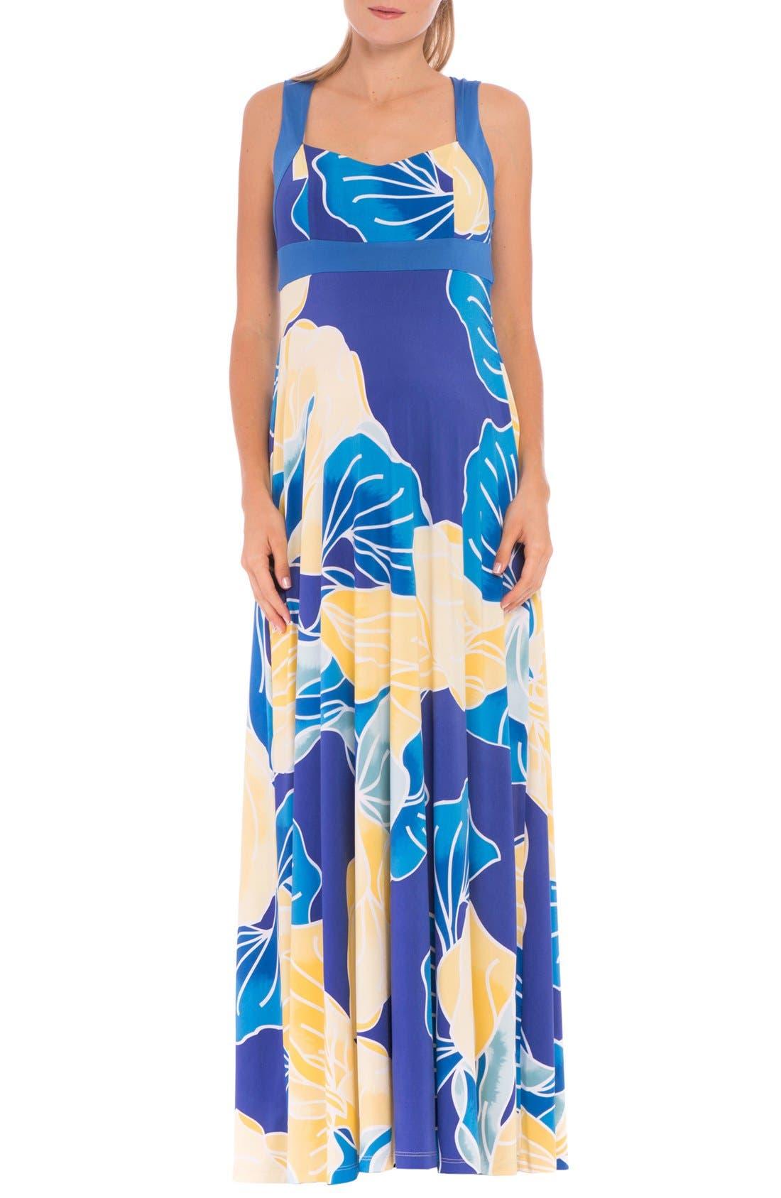 'Sharon' Maternity Maxi Dress,                         Main,                         color, AQUA