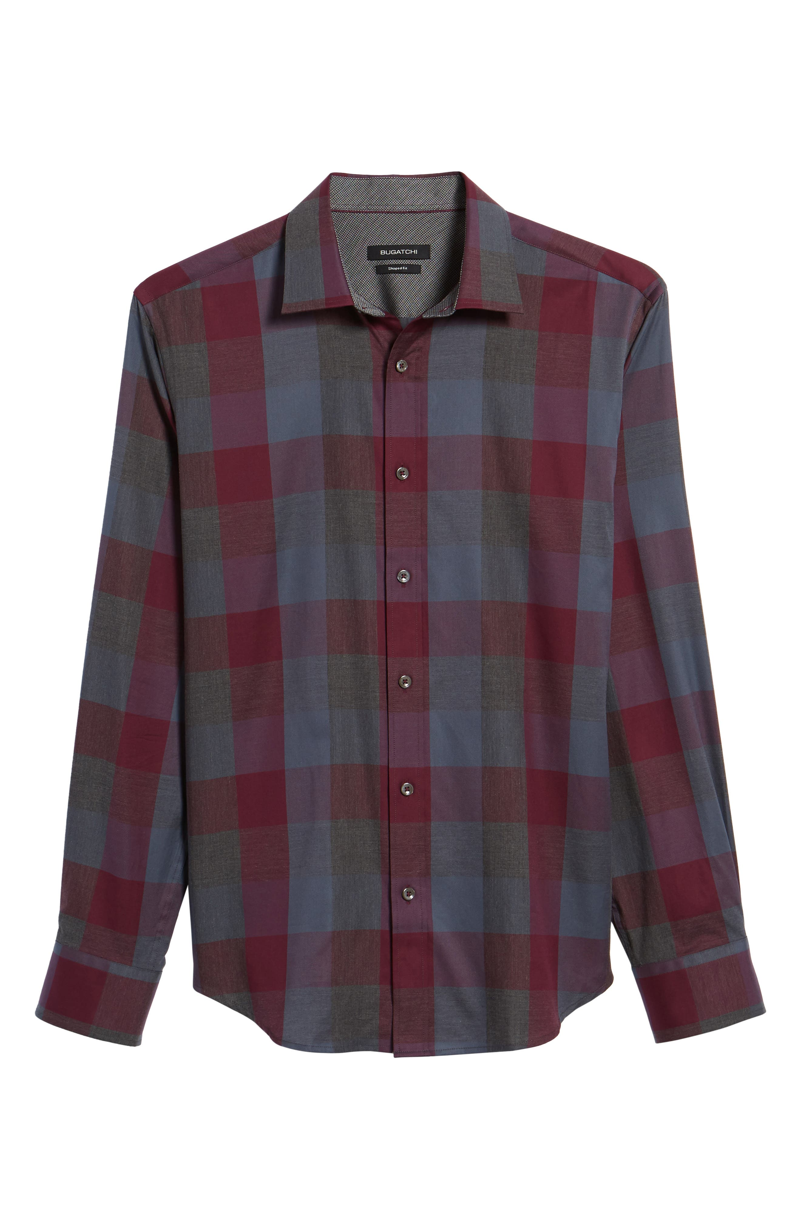 Shaped Fit Plaid Sport Shirt,                             Alternate thumbnail 6, color,                             610