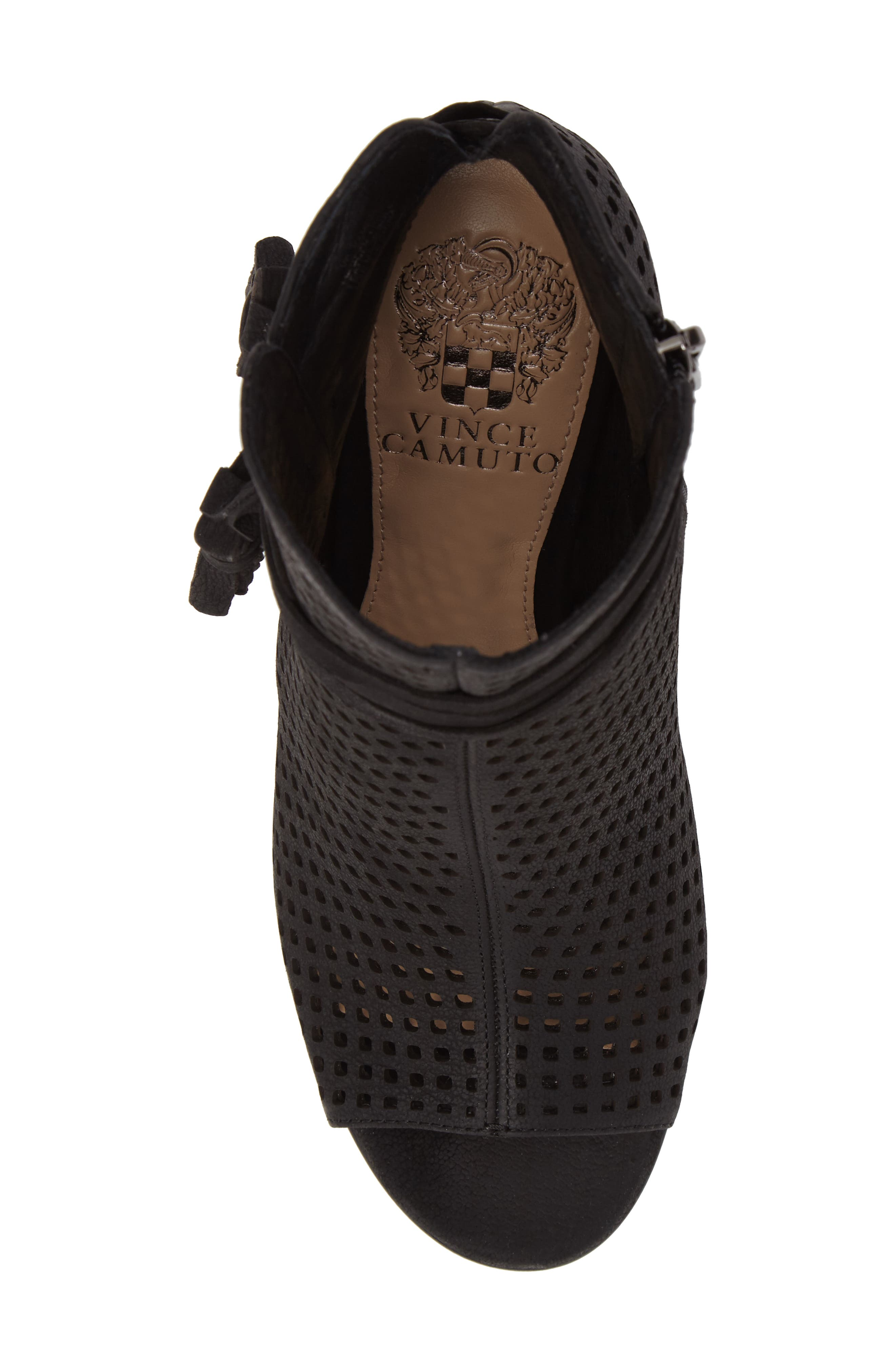 Kamey Perforated Open Toe Bootie,                             Alternate thumbnail 5, color,                             001