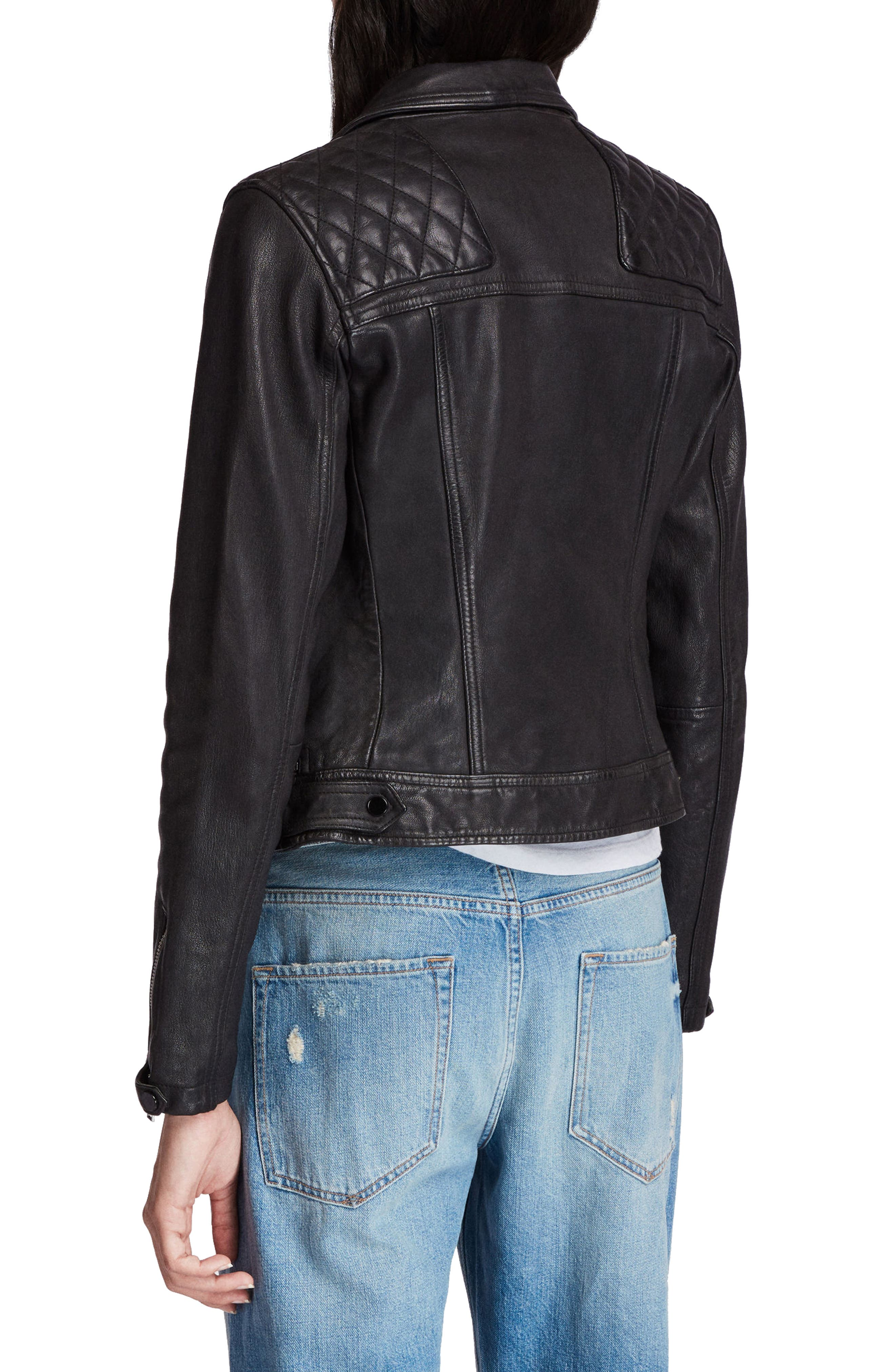 Conroy Leather Biker Jacket,                             Alternate thumbnail 2, color,                             INK