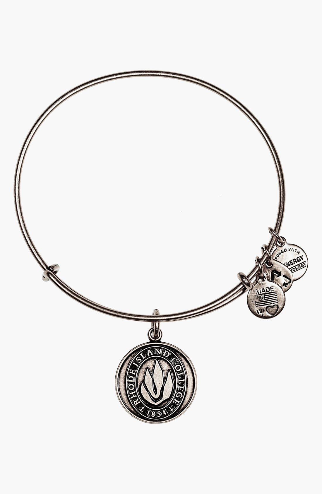 'Collegiate - Rhode Island College' Expandable Charm Bangle,                             Main thumbnail 1, color,                             RUSSIAN SILVER