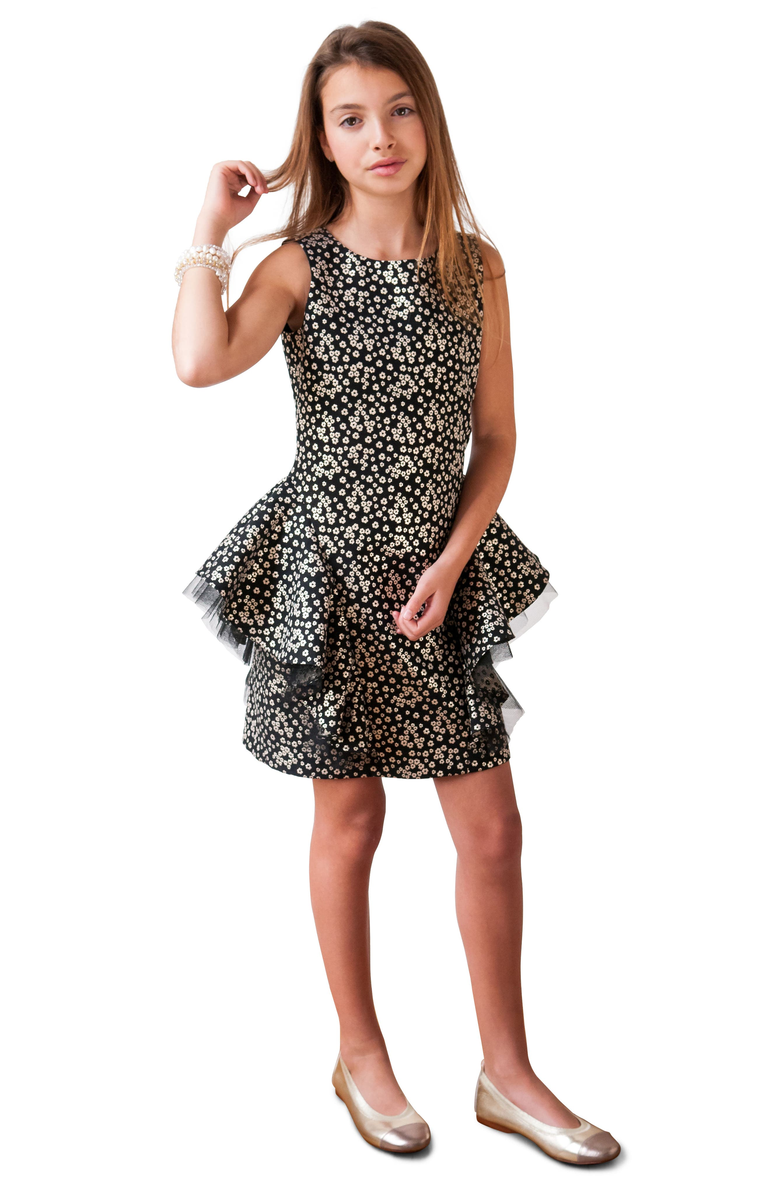 Ruffle Overlay Brocade Dress,                             Alternate thumbnail 2, color,                             001
