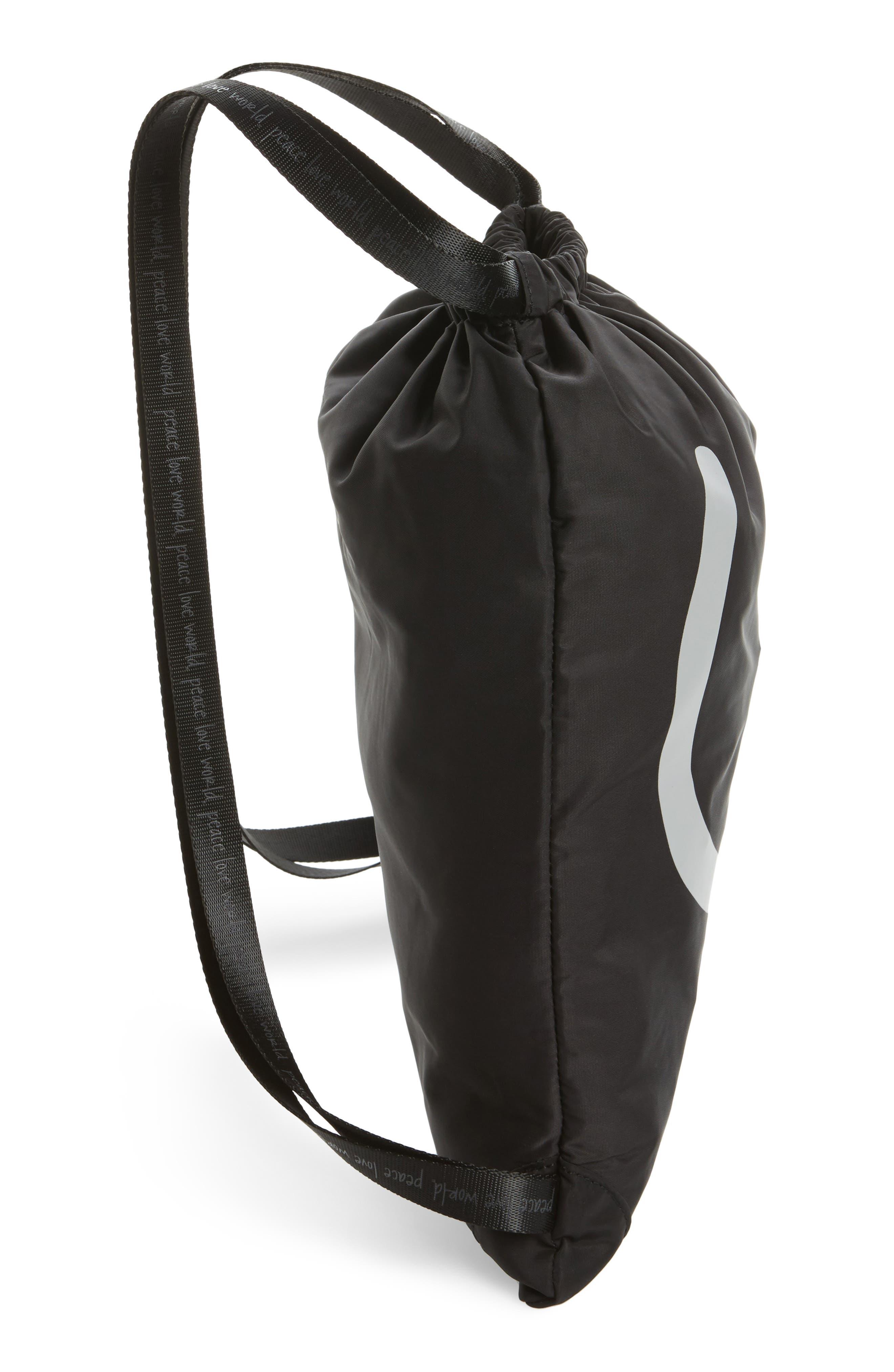 Drawstring Nylon Backpack,                             Alternate thumbnail 5, color,                             001