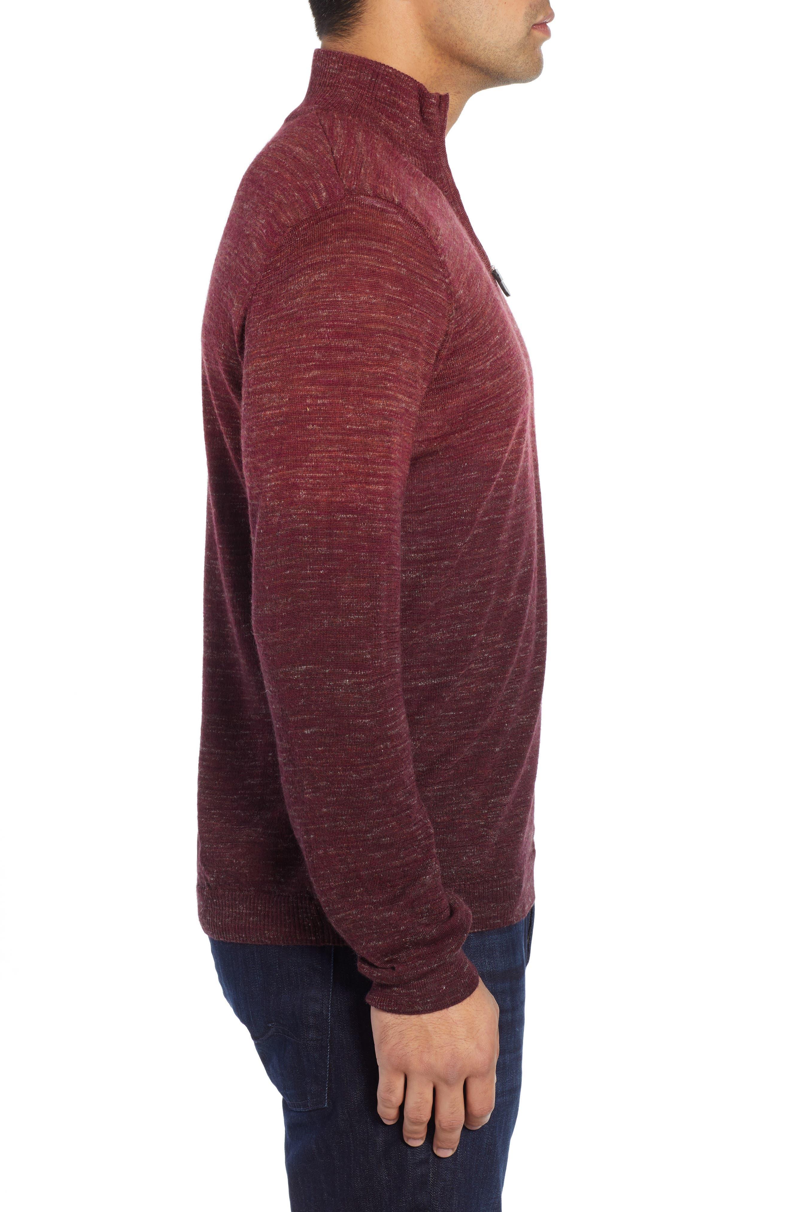 Quarter Zip Pullover,                             Alternate thumbnail 3, color,                             WINE