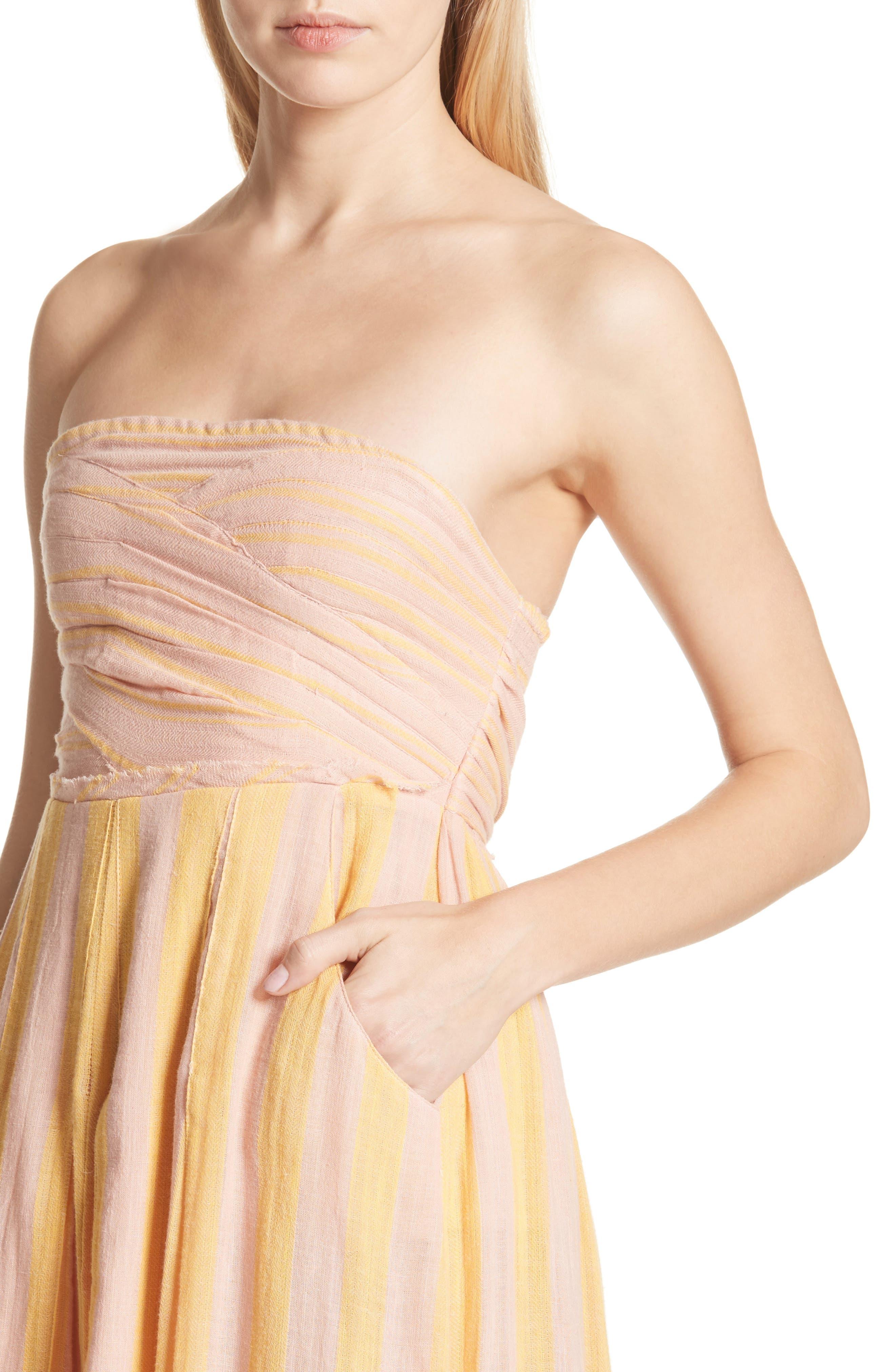 Stripe Me Up Strapless Midi Dress,                             Alternate thumbnail 8, color,