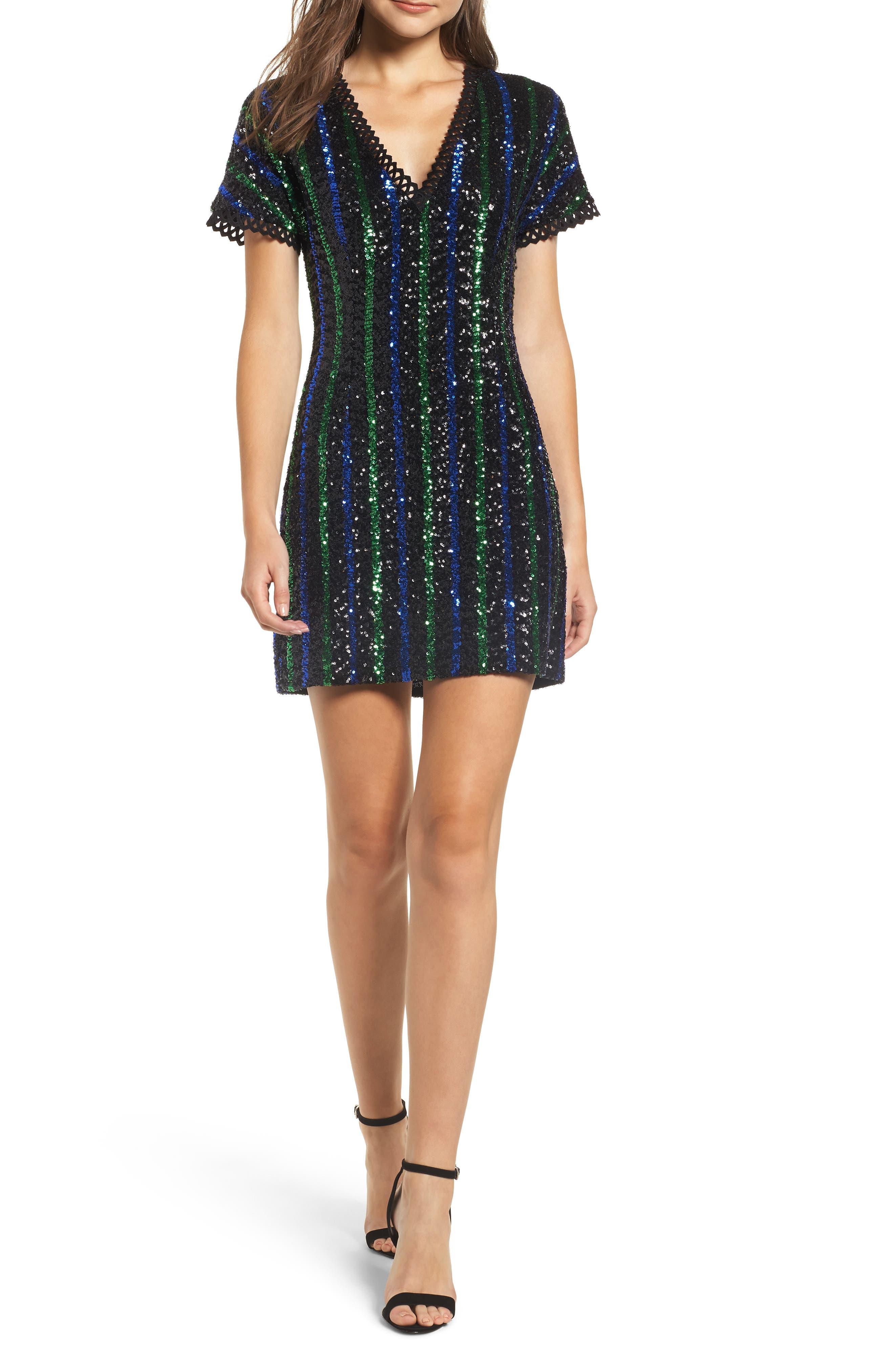 Sequin Stripe Minidress,                         Main,                         color, BLACK