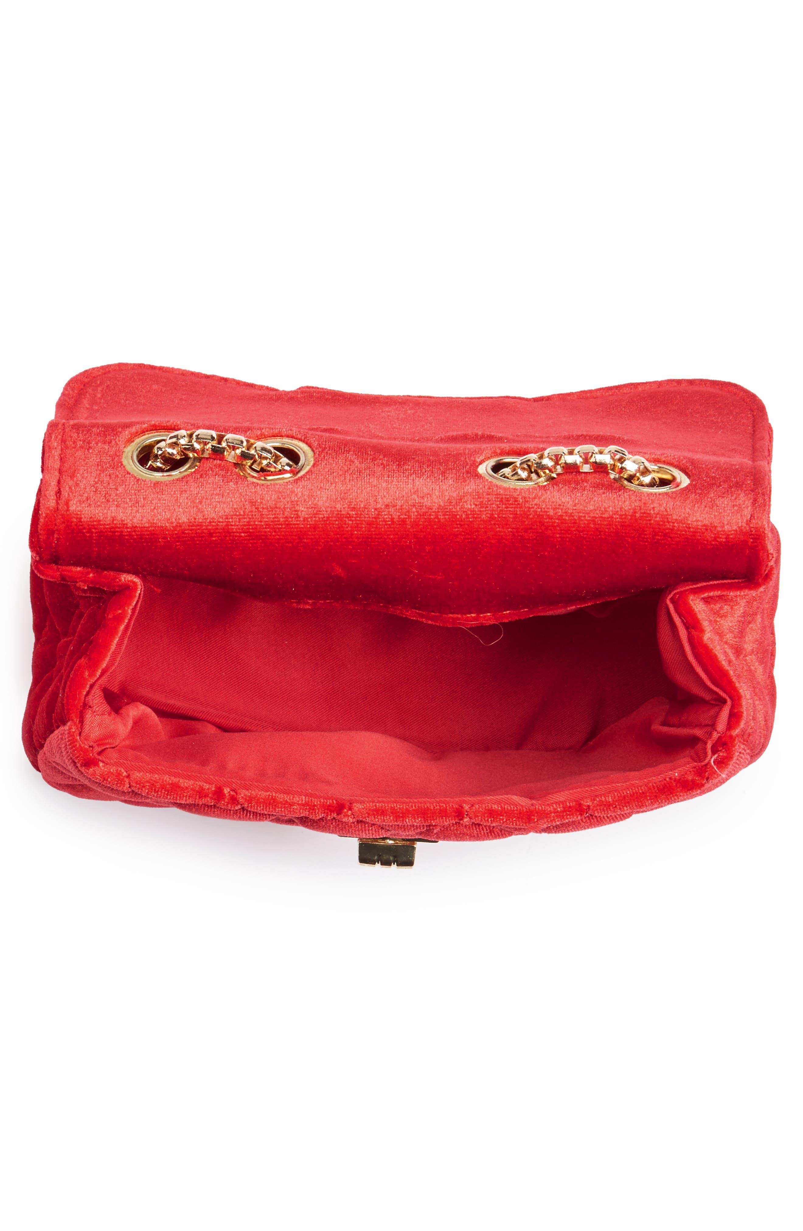 POPATU,                             Quilted Velvet Shoulder Bag,                             Alternate thumbnail 3, color,                             RED