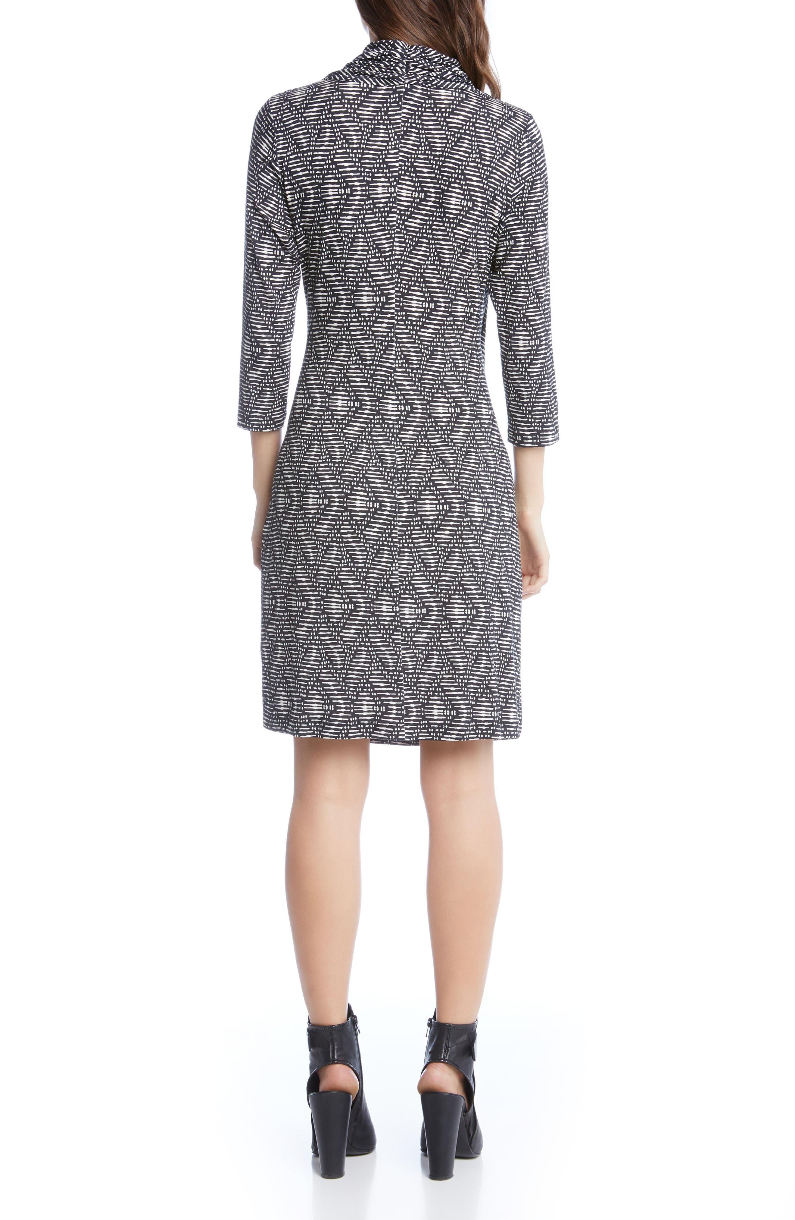 V-Neck Faux-Wrap Dress,                             Alternate thumbnail 2, color,                             006