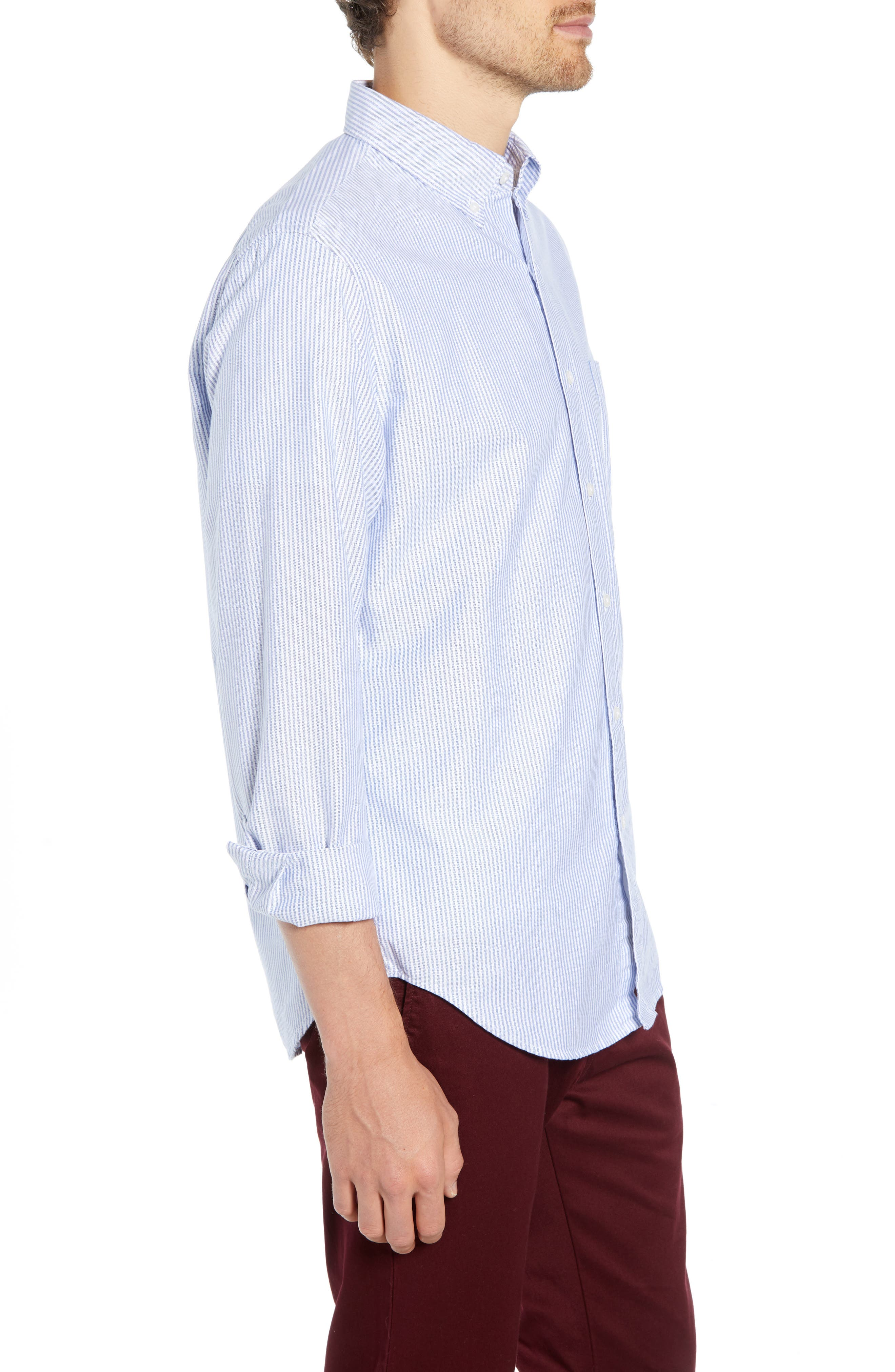 Stripe Pima Cotton Oxford Sport Shirt,                             Alternate thumbnail 4, color,                             RAINCOAT BLUE