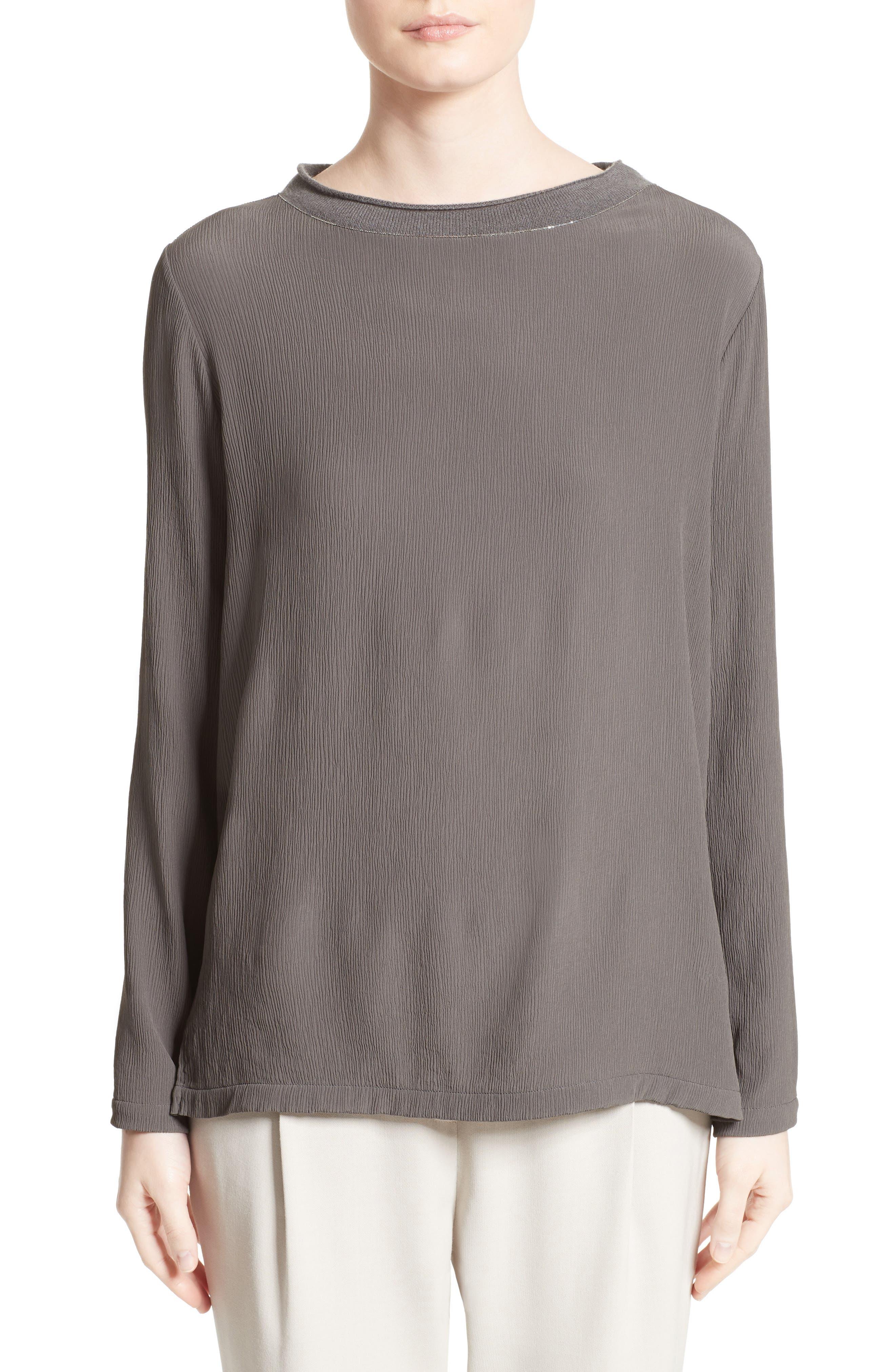 Knit Trim Chiffon Blouse,                         Main,                         color, 021