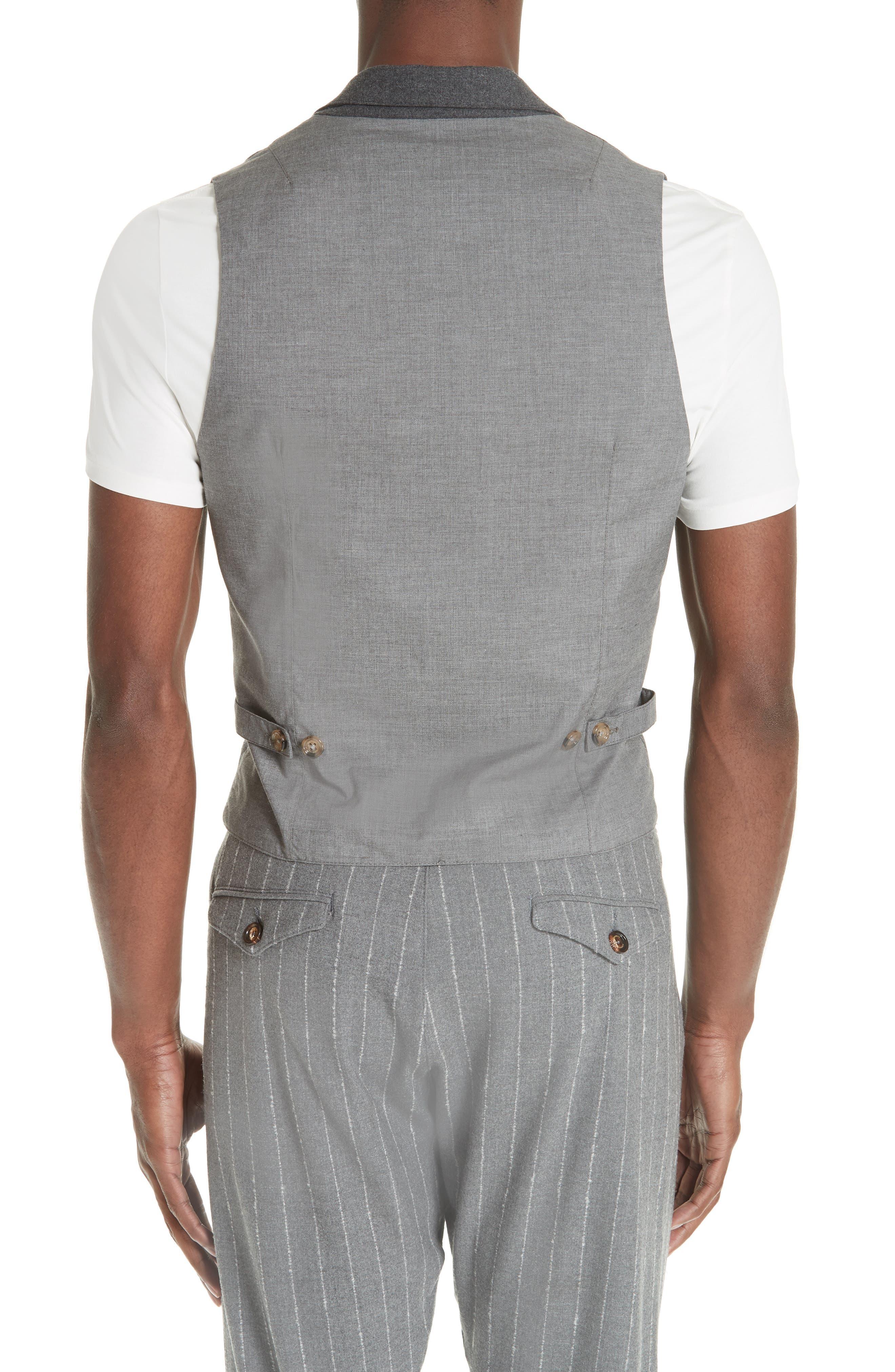 Trim Fit Stretch Wool Vest,                             Alternate thumbnail 2, color,                             DARK GREY