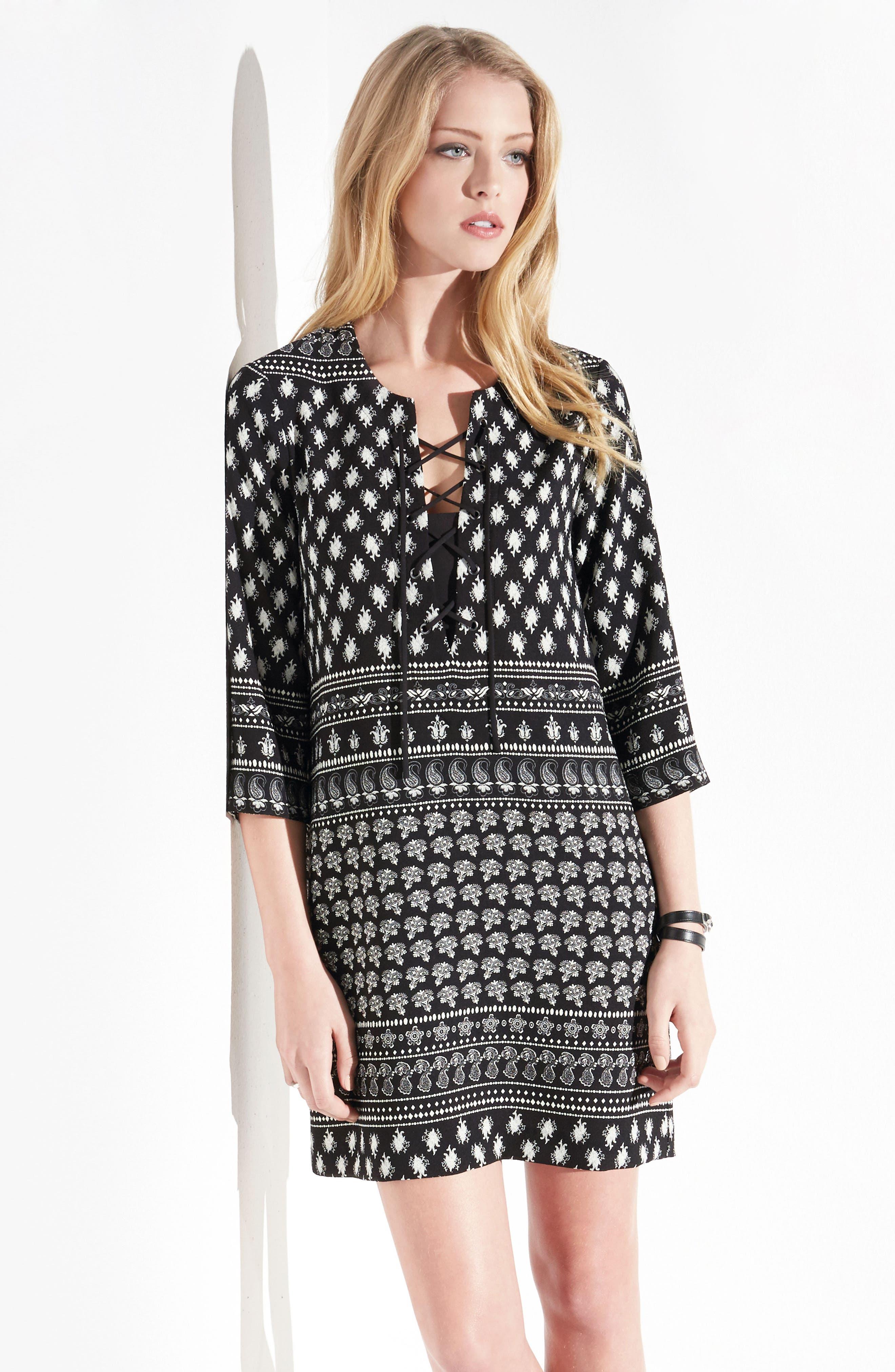 Print Lace-Up Shift Dress,                             Alternate thumbnail 3, color,                             560