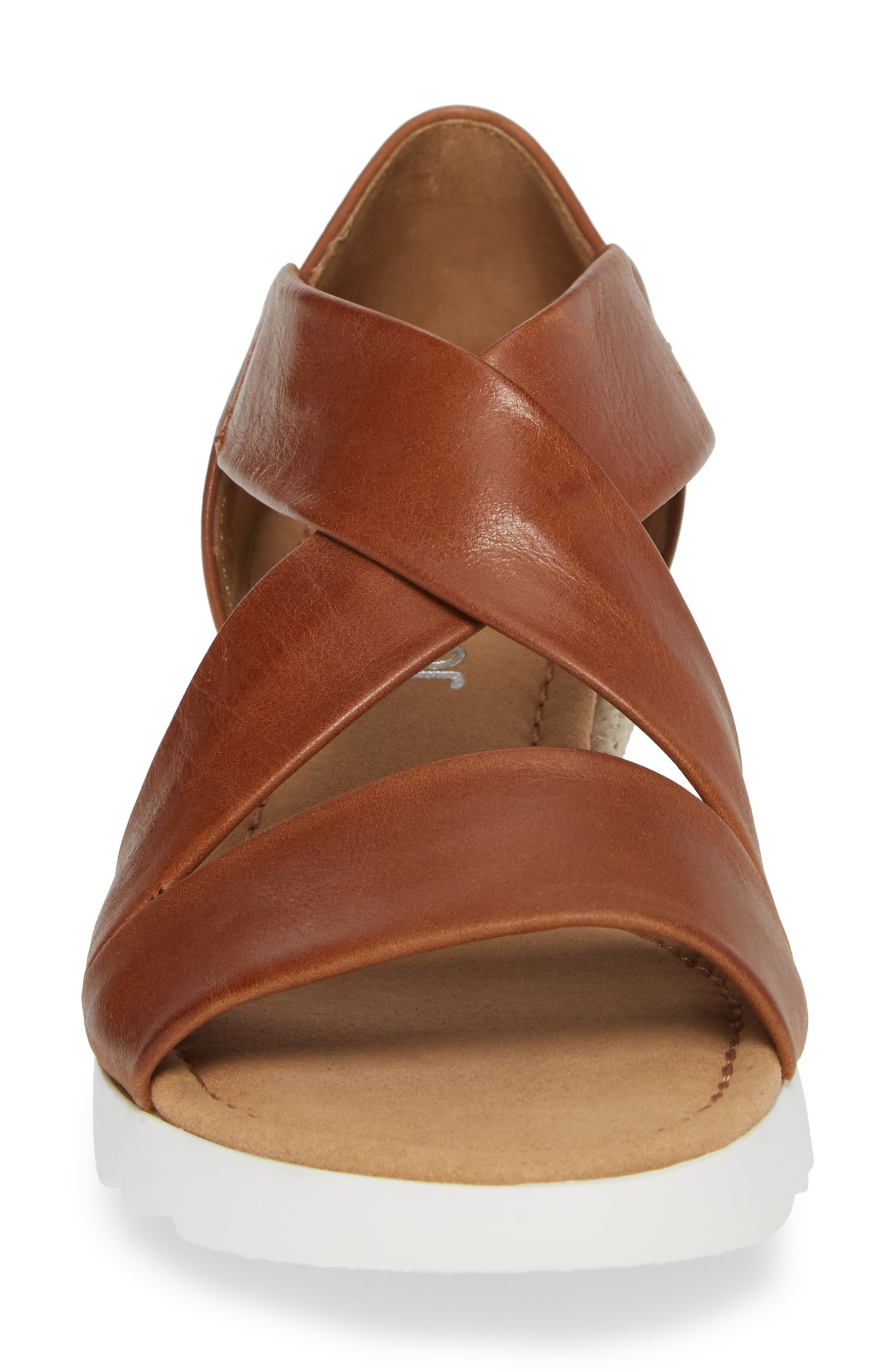 Cross Strap Sandal,                             Alternate thumbnail 4, color,                             BROWN LEATHER