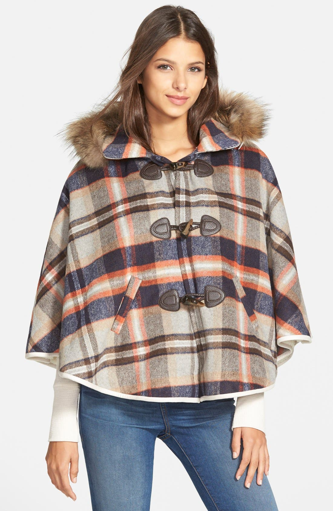Plaid Hooded Cape with Faux Fur Trim, Main, color, 200