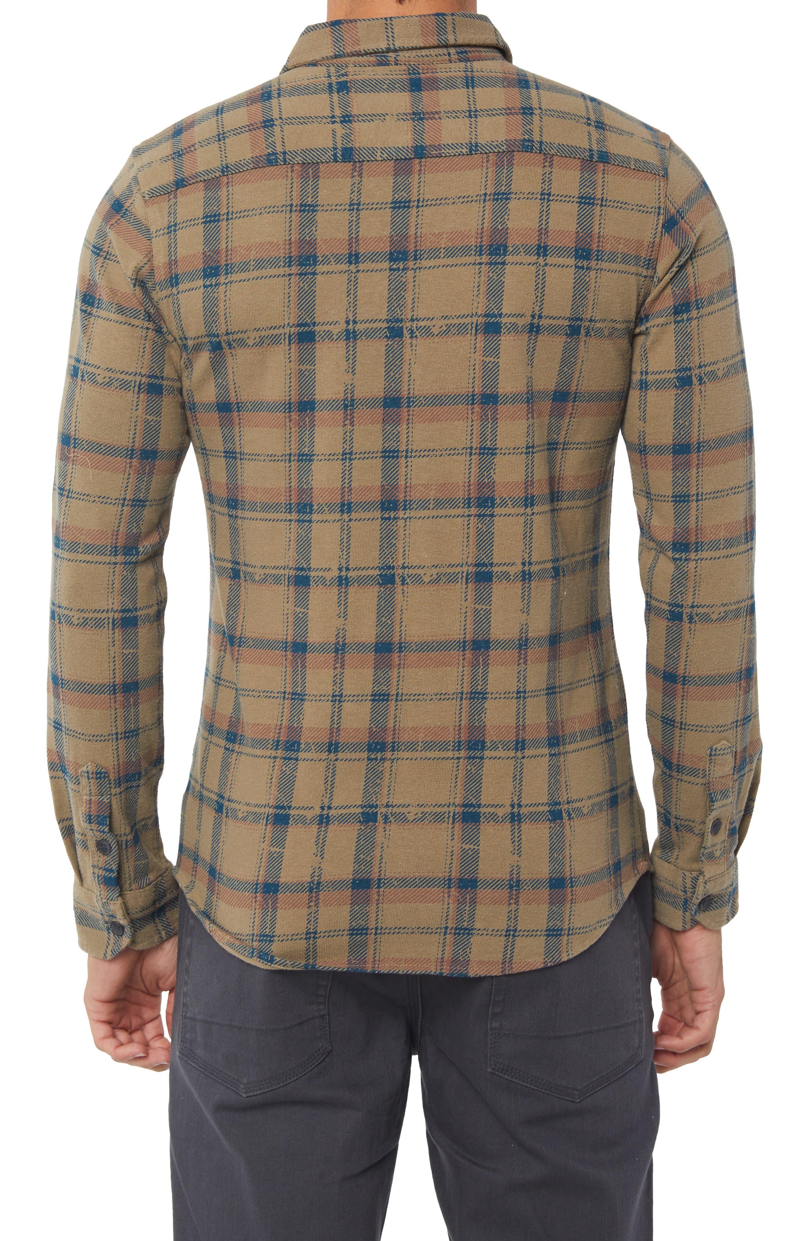 Fisher Plaid Knit Shirt,                             Alternate thumbnail 2, color,                             KHAKI