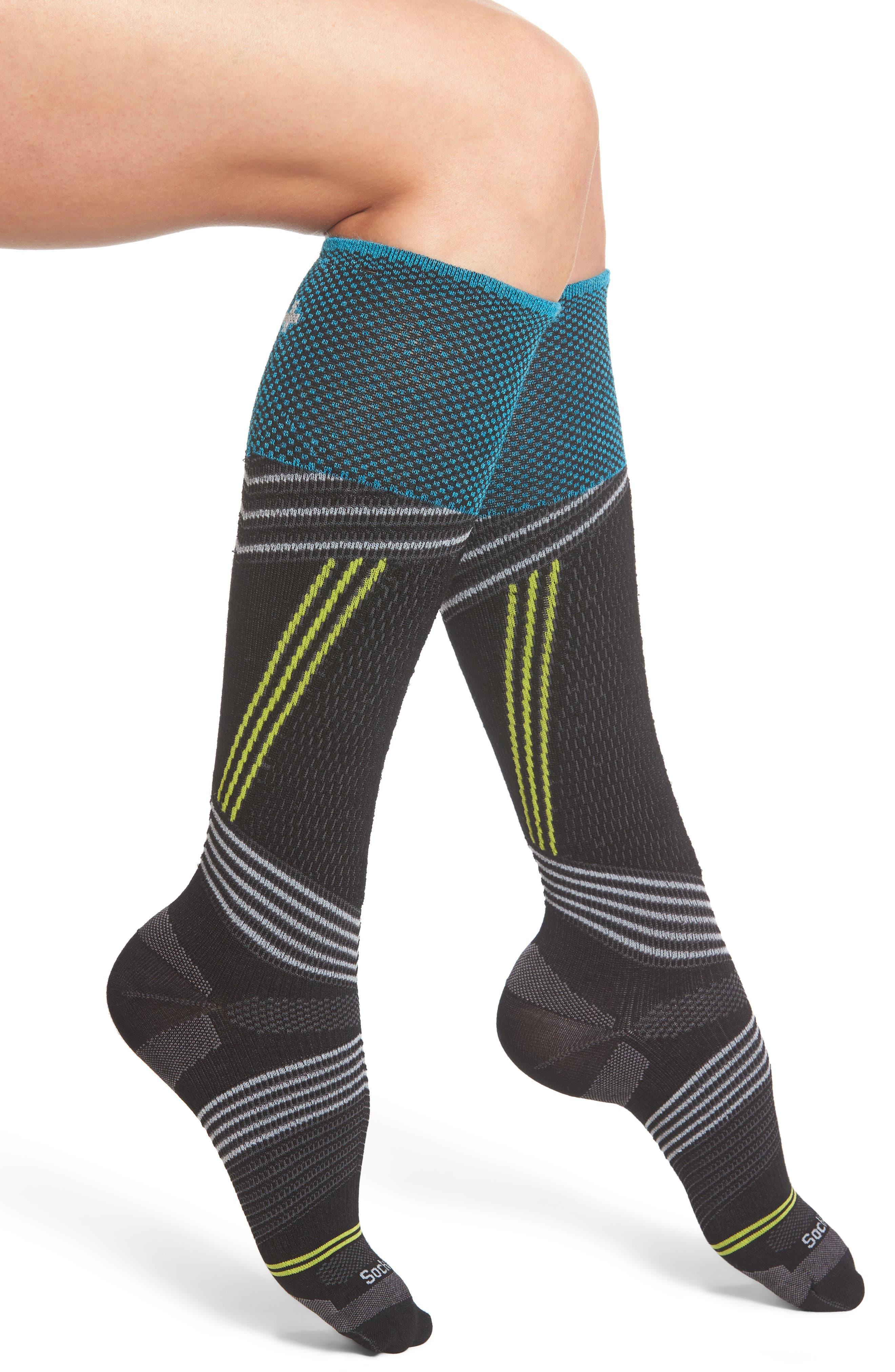 Ski Alpine Racer Compression Knee Socks,                             Main thumbnail 1, color,                             001