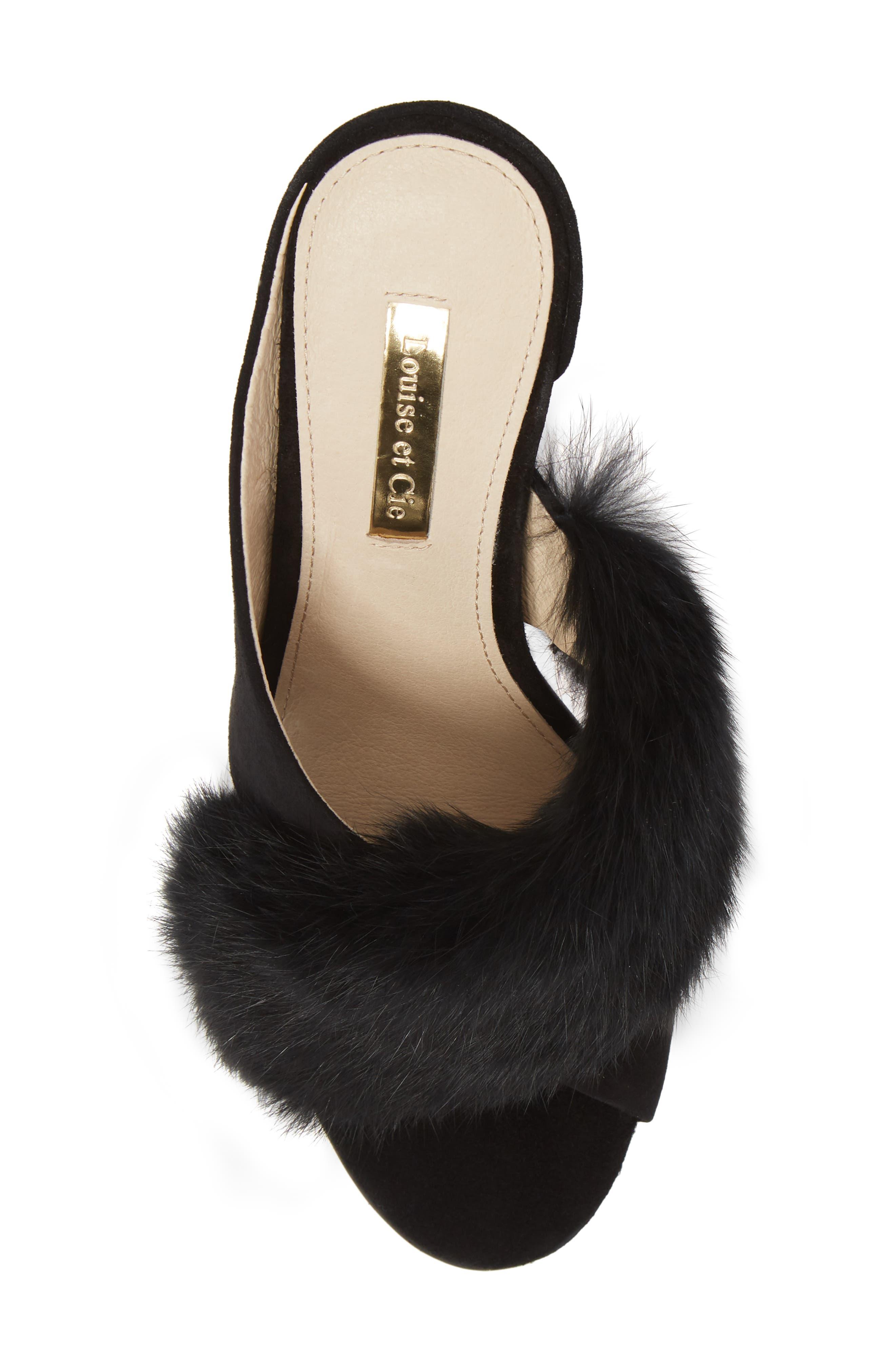 Halloway Genuine Rabbit Fur Sandal,                             Alternate thumbnail 5, color,                             BLACK RABBIT FUR