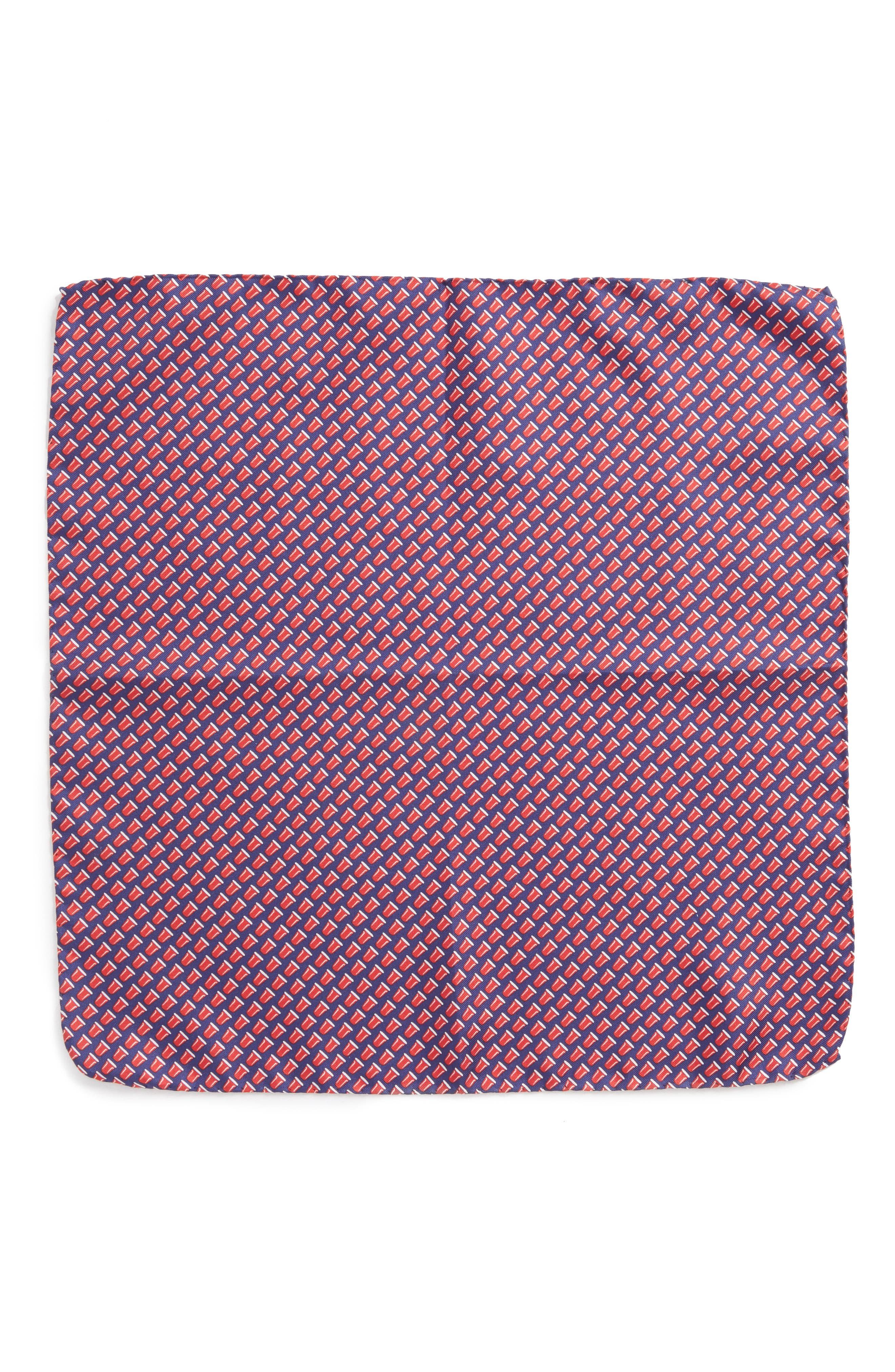 Re-Rack Silk Pocket Square,                             Alternate thumbnail 2, color,                             NAVY