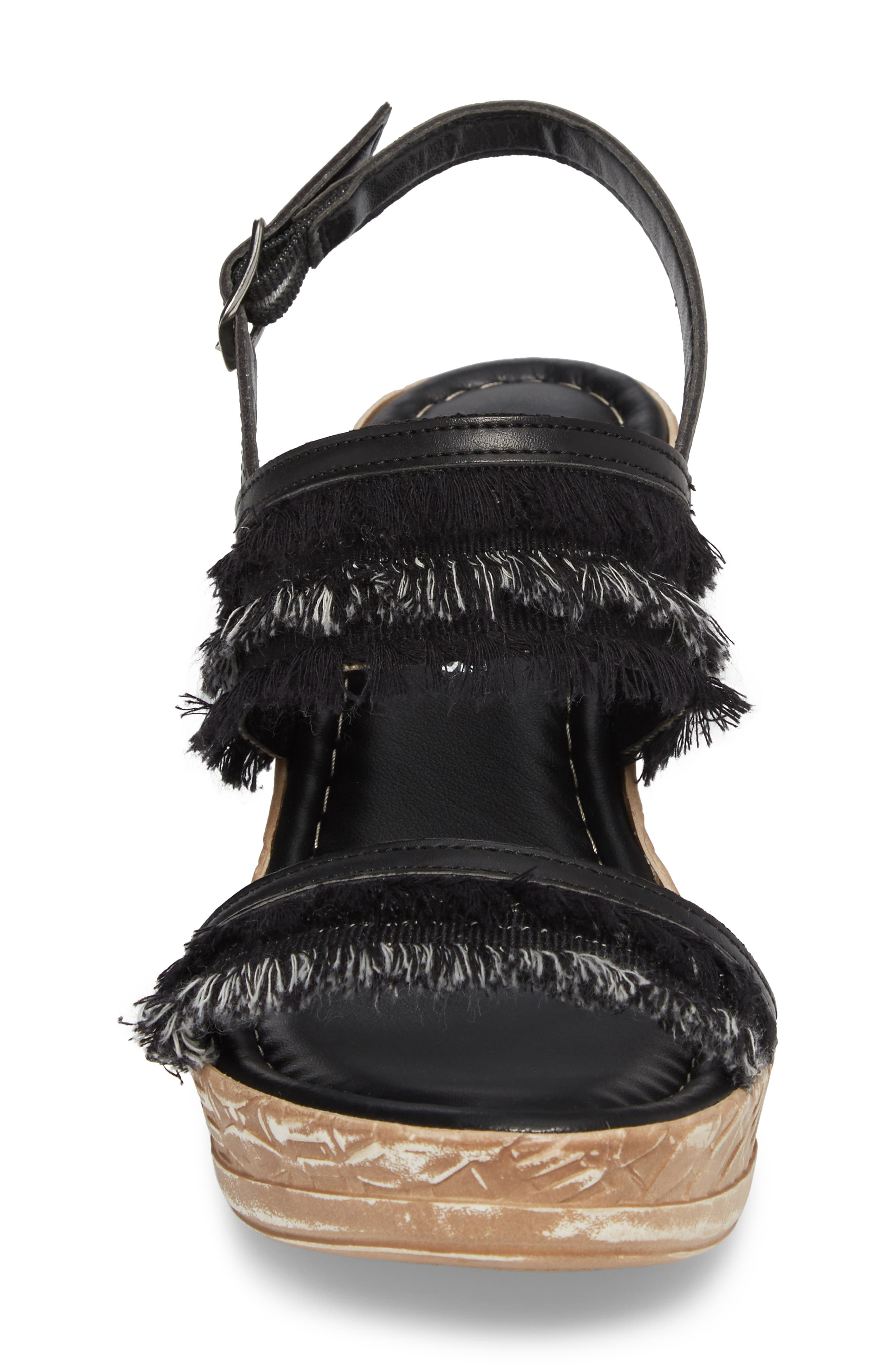 by Easy Street<sup>®</sup> Zaira Wedge Espadrille Sandal,                             Alternate thumbnail 4, color,                             BLACK FAUX LEATHER