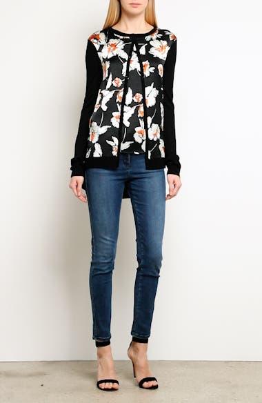 Modern Floral Hammered Satin & Jersey Knit Cardigan, video thumbnail