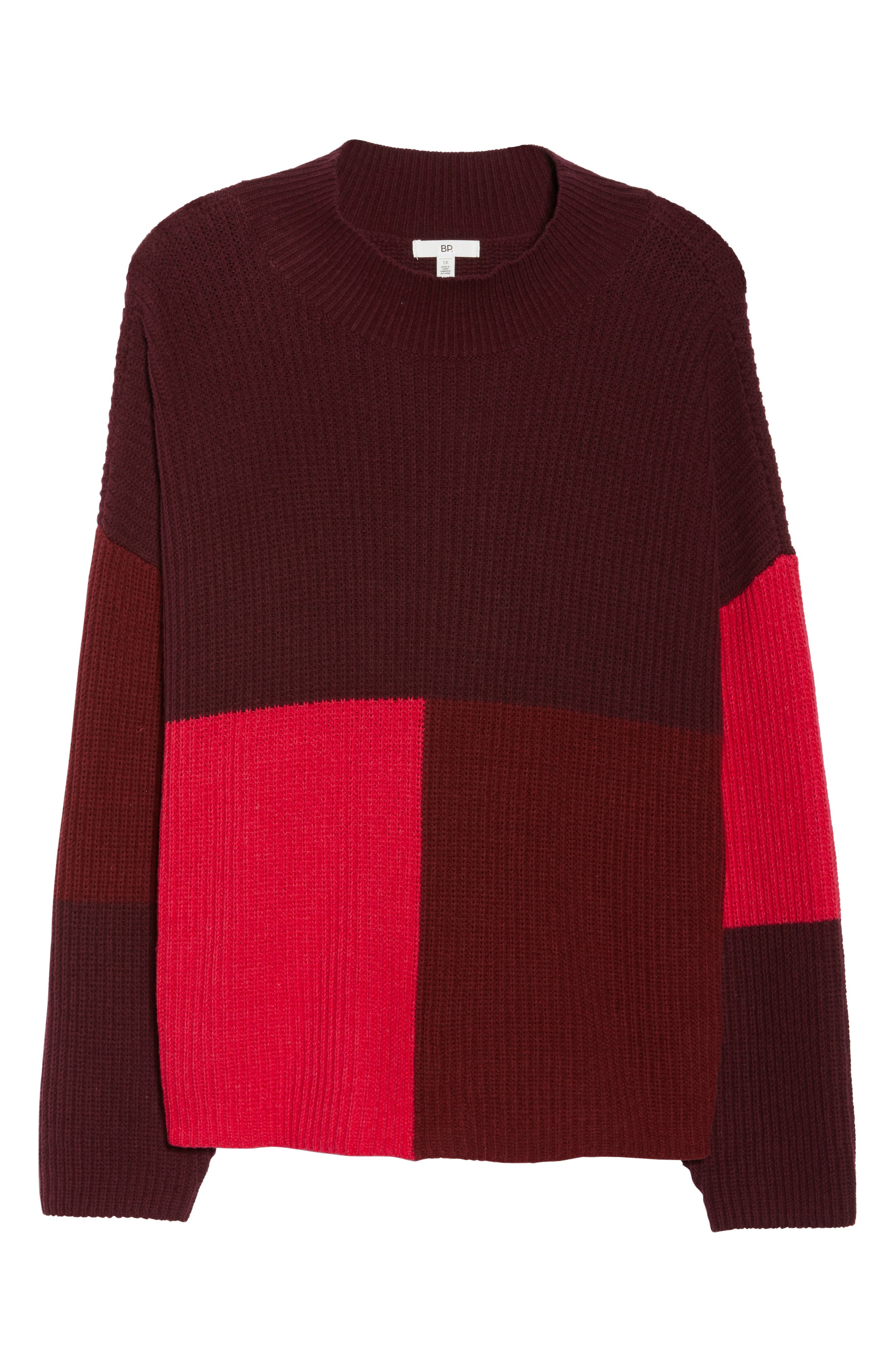 Mock Neck Colorblock Sweater,                             Alternate thumbnail 11, color,                             RED RUMBA COLORBLOCK