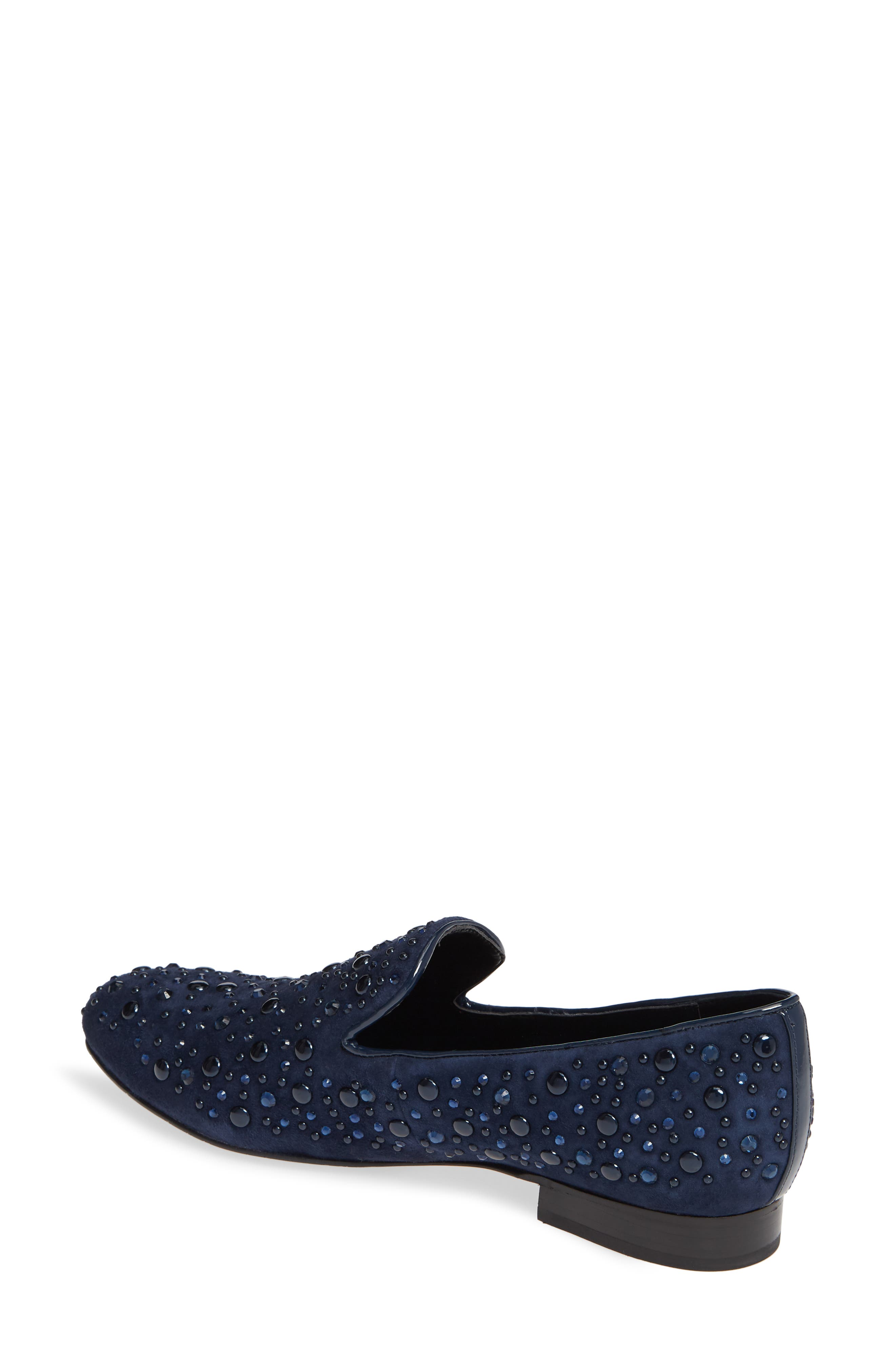 Lynn Loafer Flat,                             Alternate thumbnail 2, color,                             NAVY SUEDE