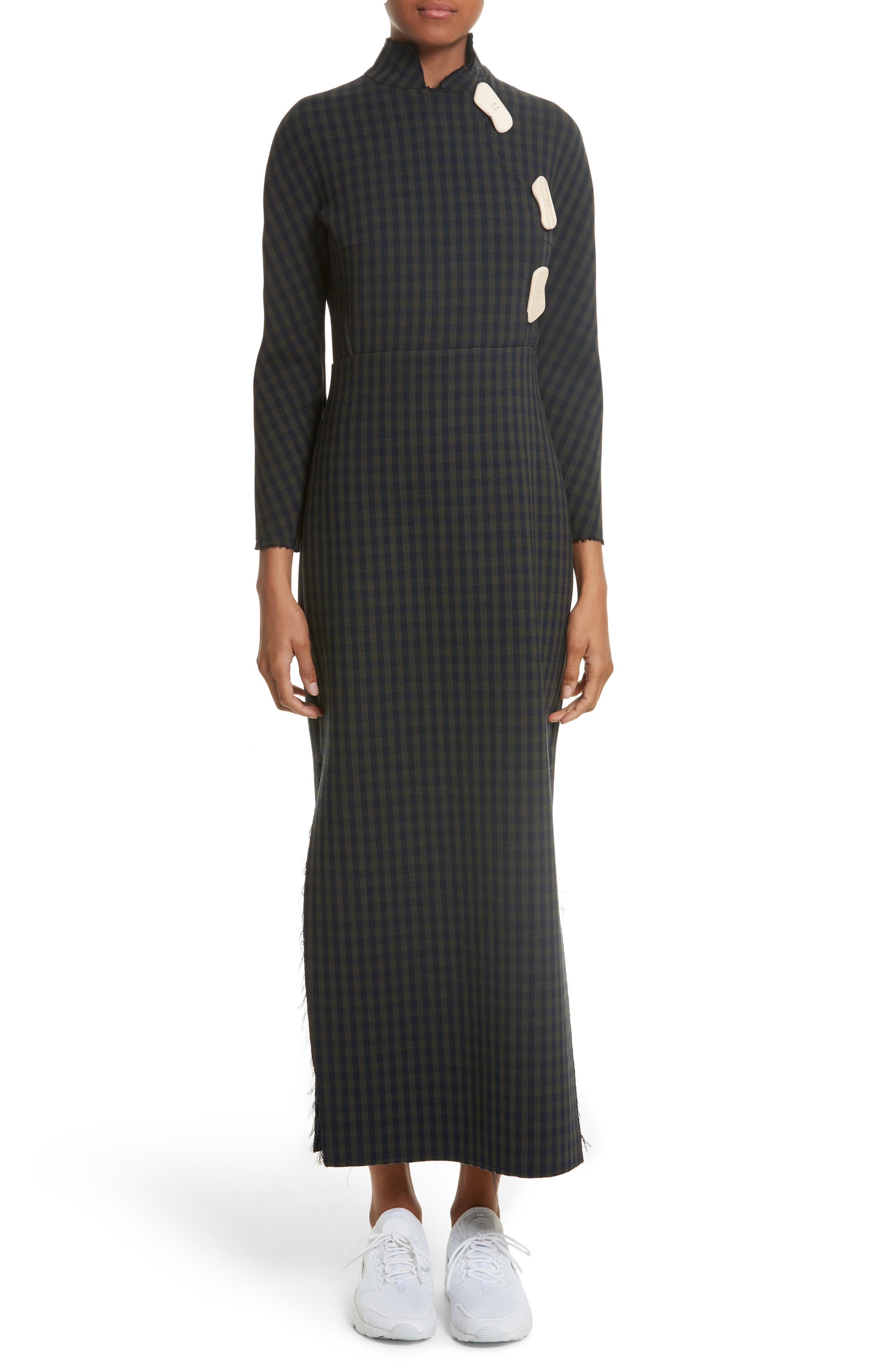 A.W.A.K.E.,                             Fitted Gingham Dress with Carved Wooden Buttons,                             Main thumbnail 1, color,                             300