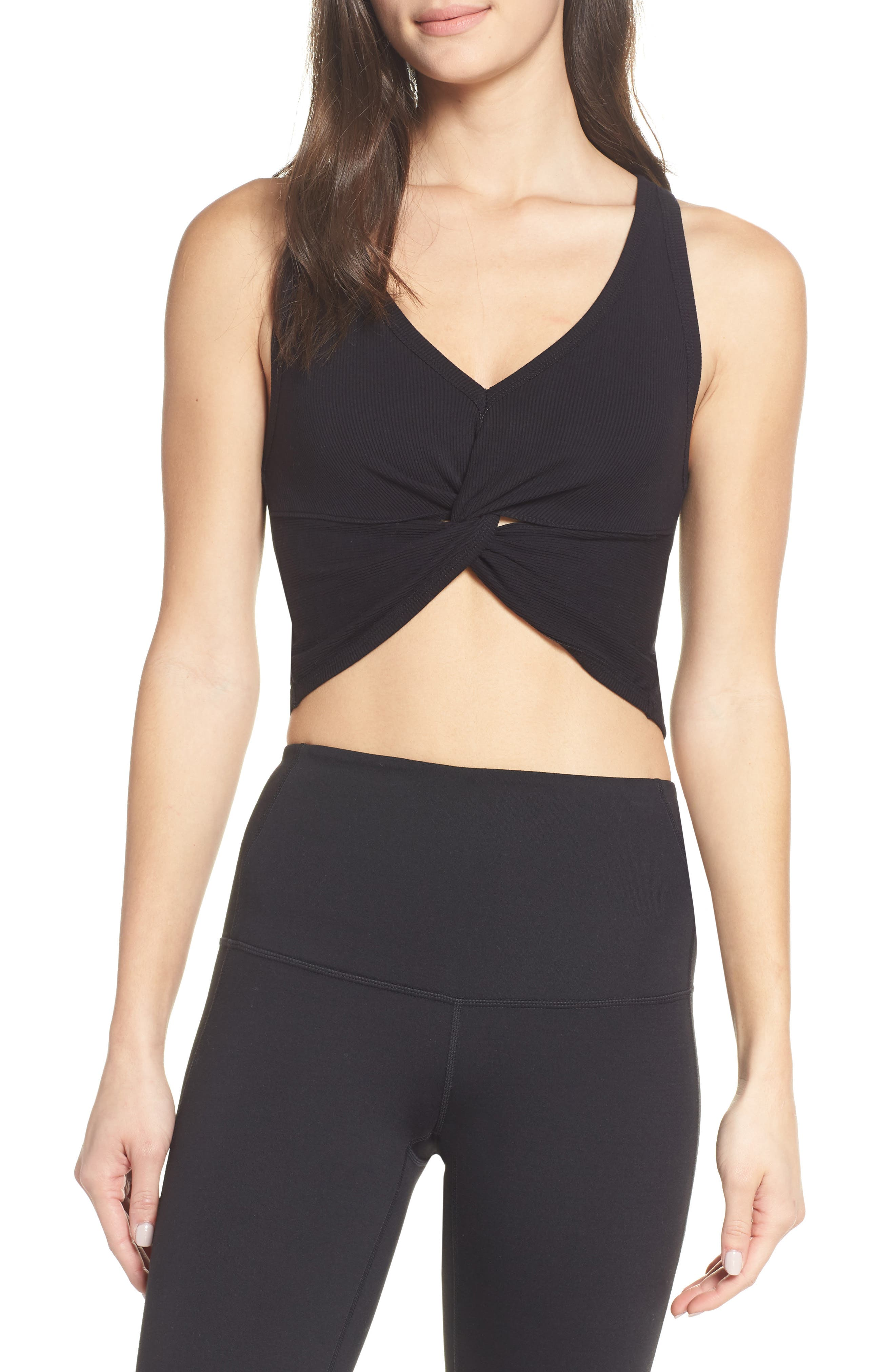 Free People Fp Movement New Moon Crop Top, Black