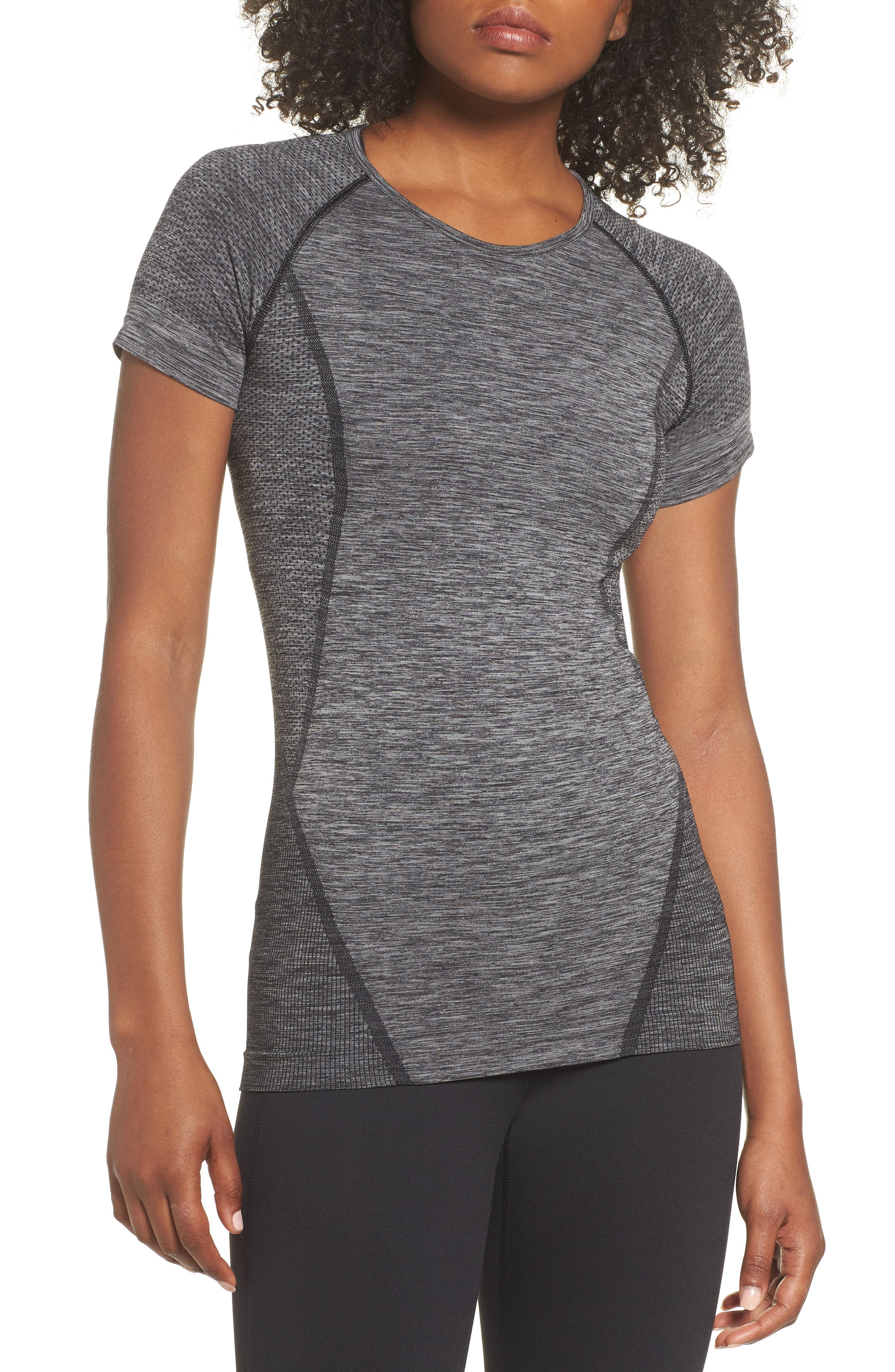 Stand Out Seamless Training Tee,                             Main thumbnail 1, color,                             BLACK