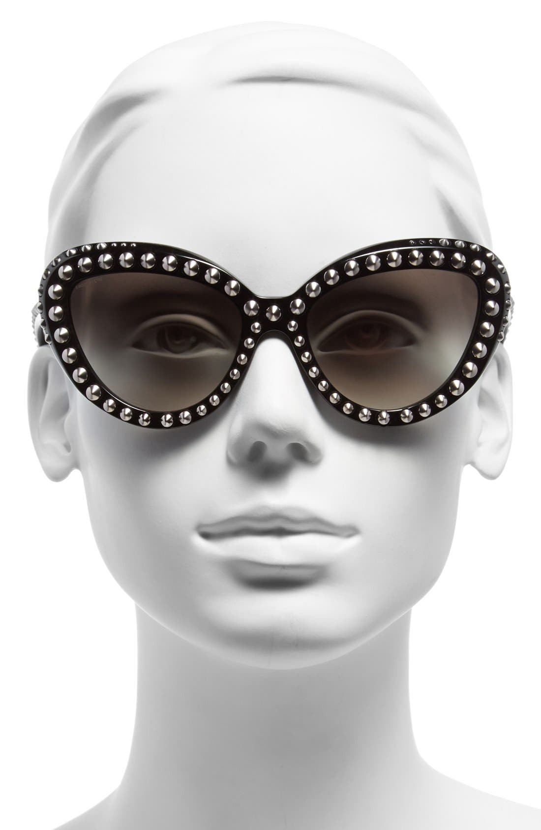 57mm Studded Cat Eye Sunglasses,                             Alternate thumbnail 2, color,                             001