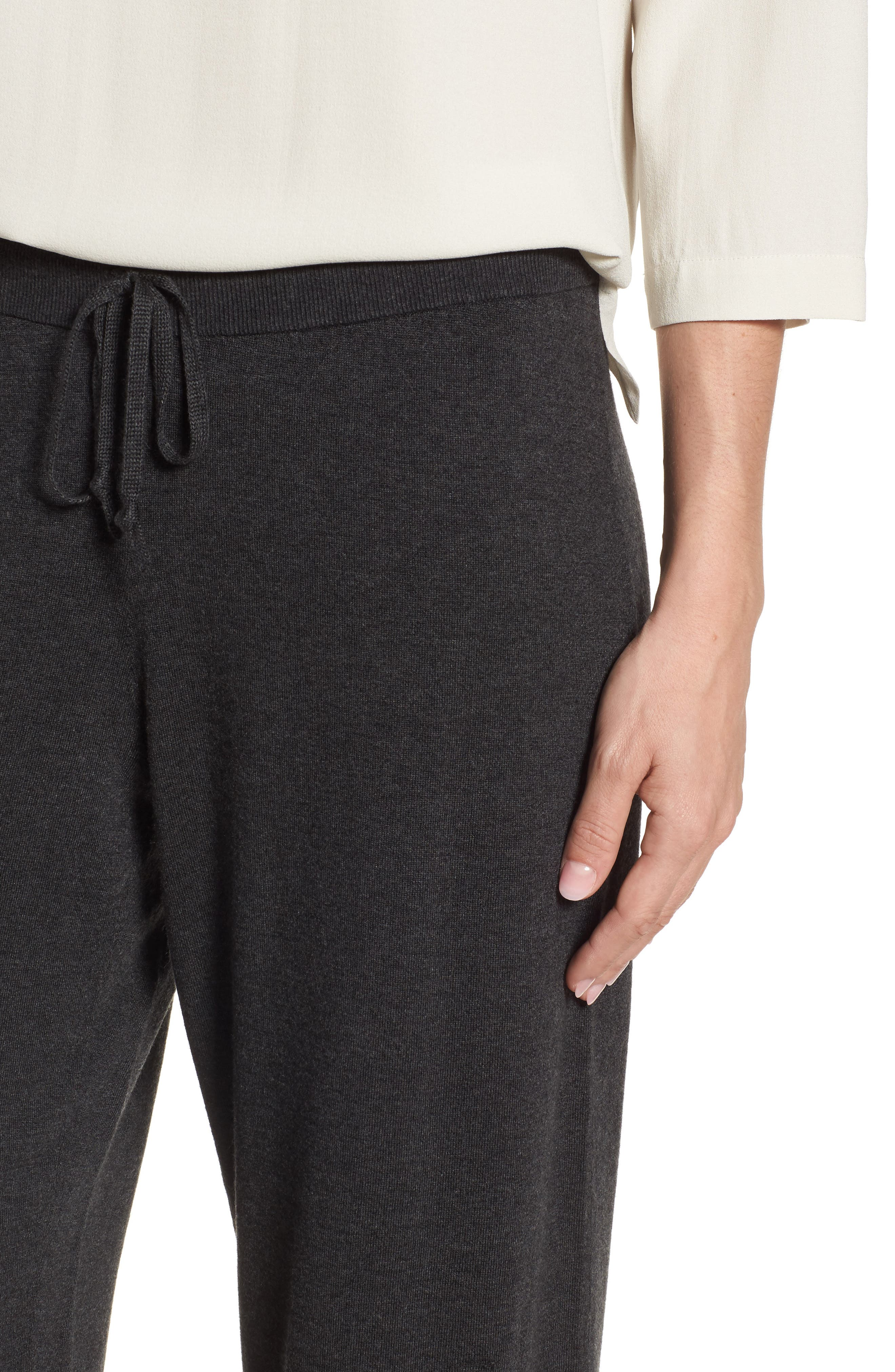 Tencel<sup>®</sup> Lyocell Blend Knit Wide Leg Pants,                             Alternate thumbnail 4, color,