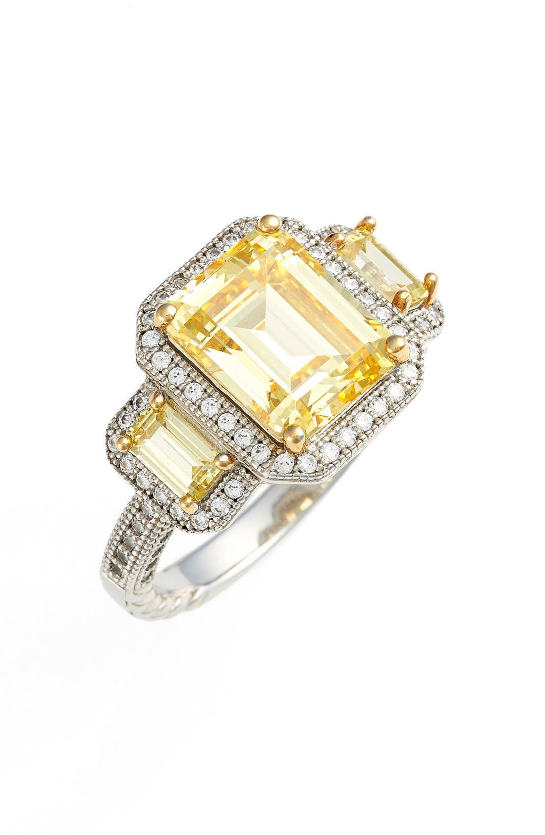 'Lassaire' Yellow Three Stone Ring,                             Main thumbnail 1, color,                             SILVER/ CANARY YELLOW
