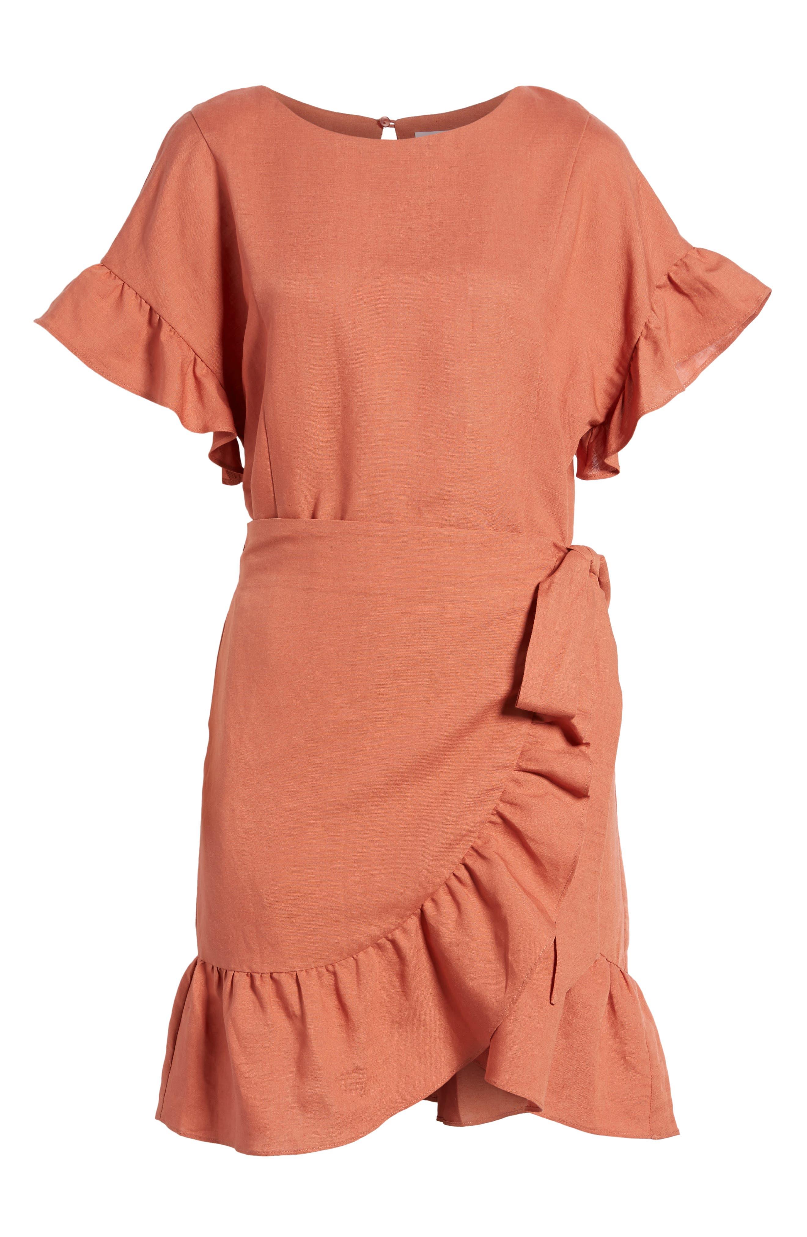 Ruffle Linen Blend Wrap Dress,                             Alternate thumbnail 12, color,