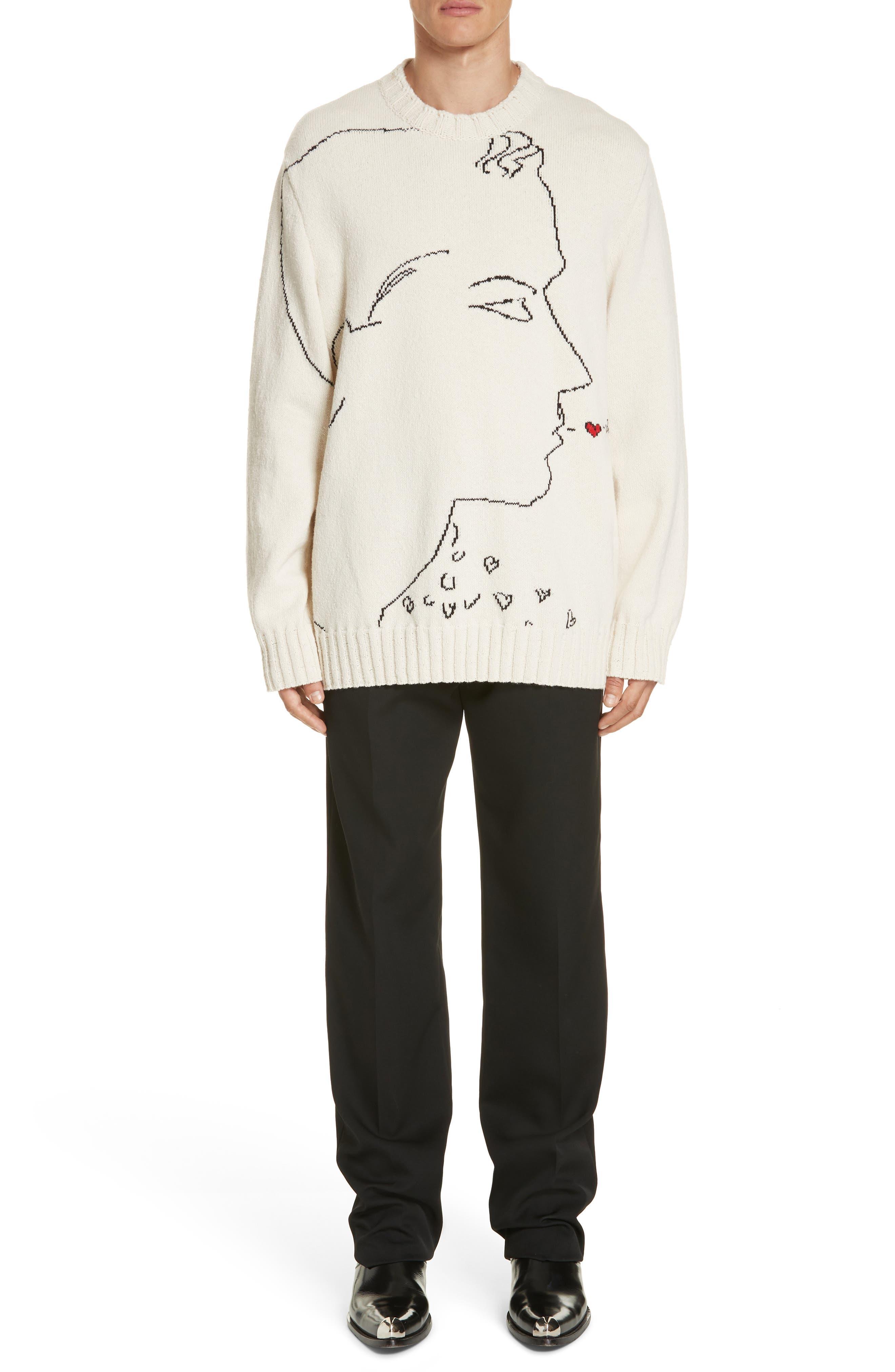 CALVIN KLEIN 205W39NYC,                             Print Wool Sweater,                             Alternate thumbnail 7, color,                             ECRU BLACK RED