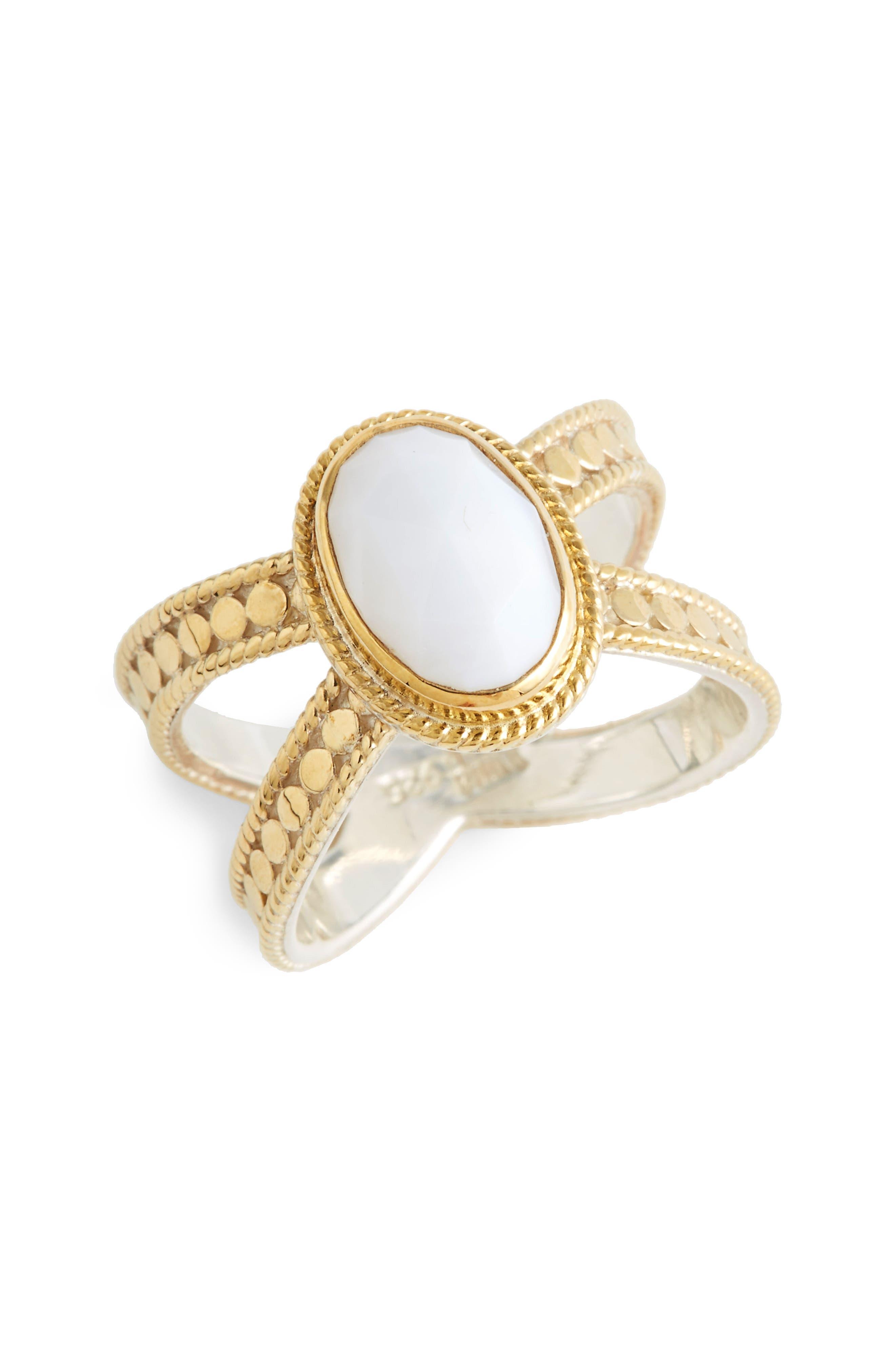 ANNA BECK,                             White Opal Cross Ring,                             Main thumbnail 1, color,                             710