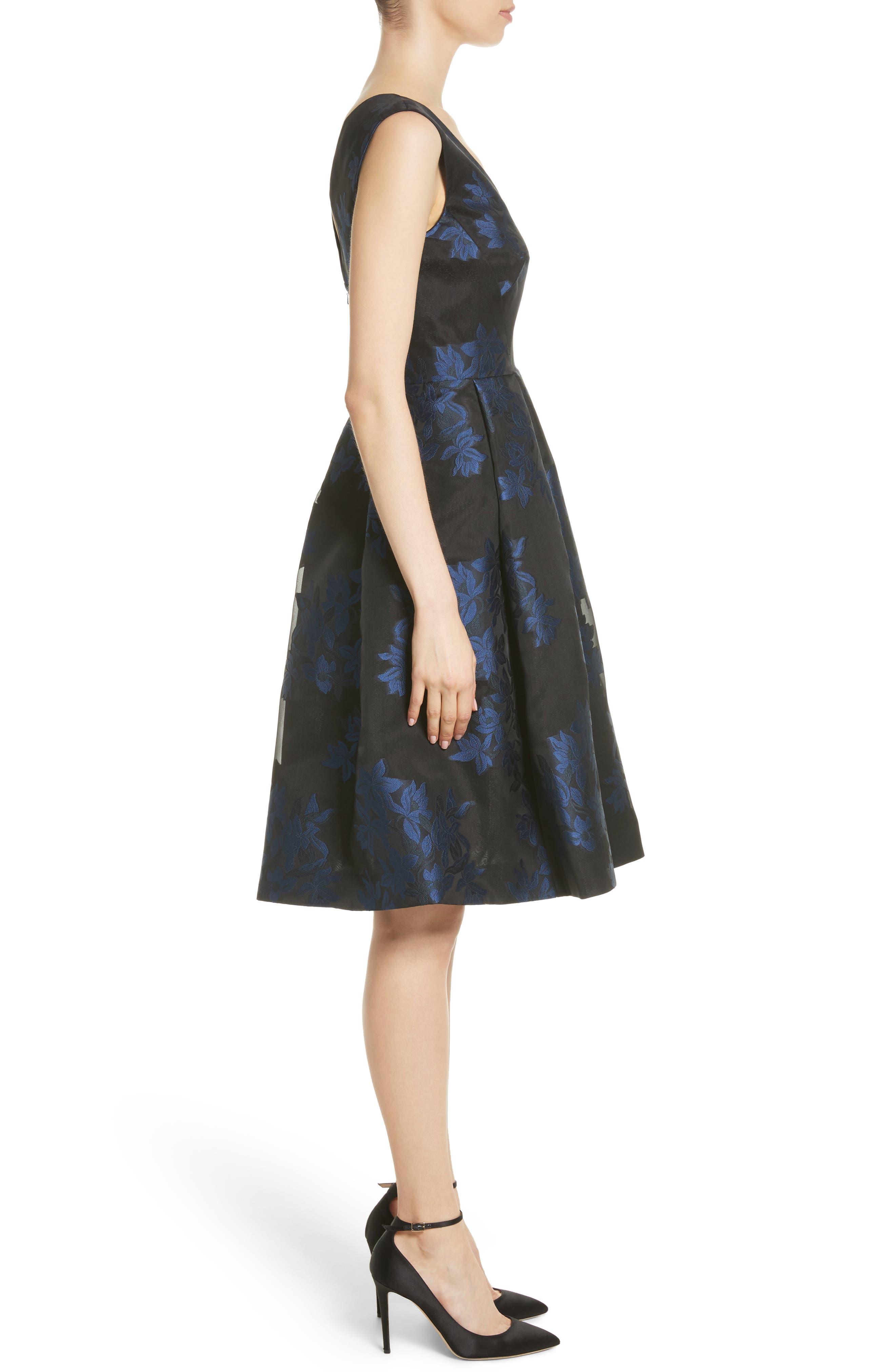 Floral Jacquard Party Dress,                             Alternate thumbnail 3, color,                             400