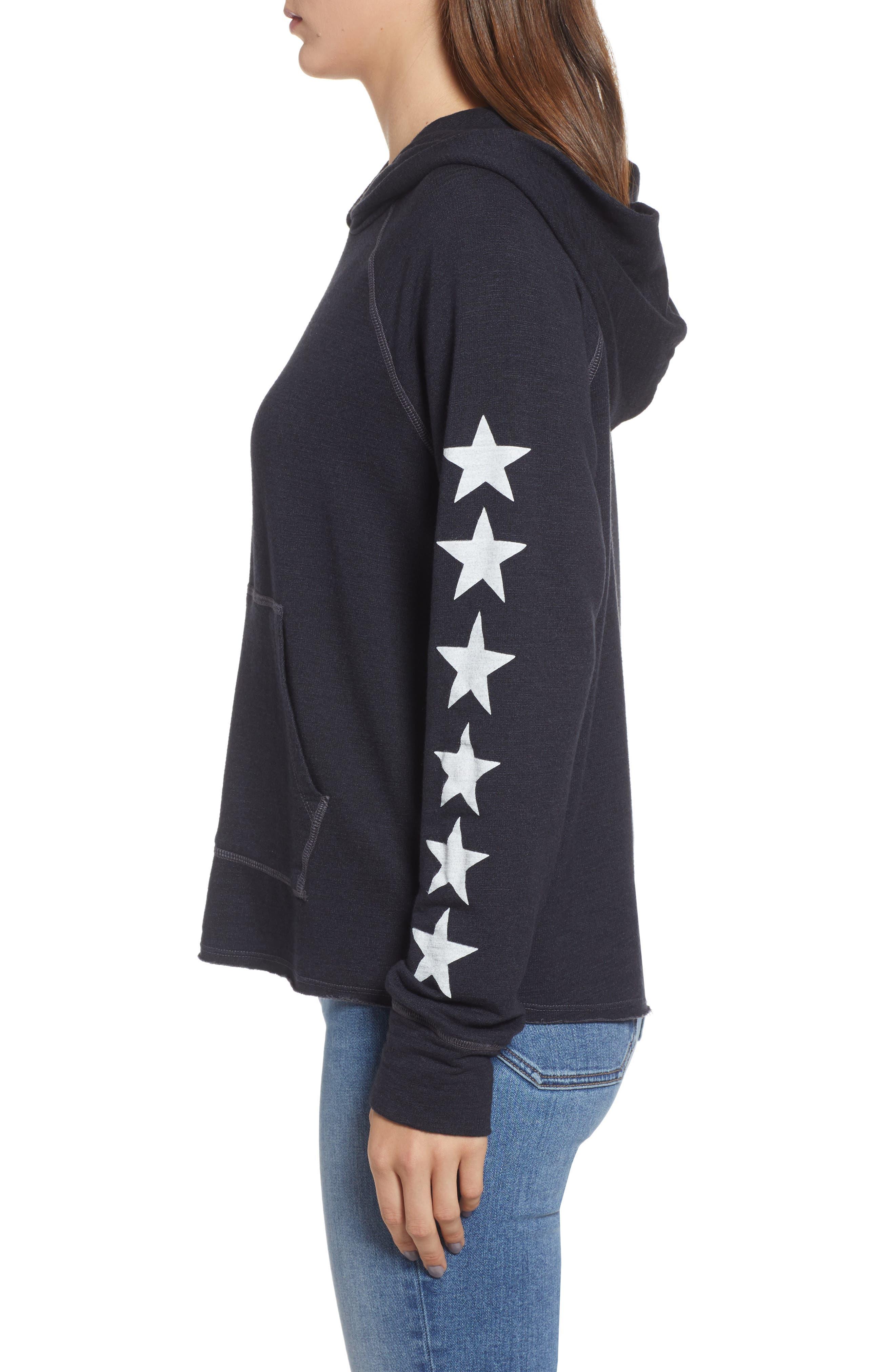 Star Sleeves Crop Hoodie,                             Alternate thumbnail 3, color,                             SOFT BLACK