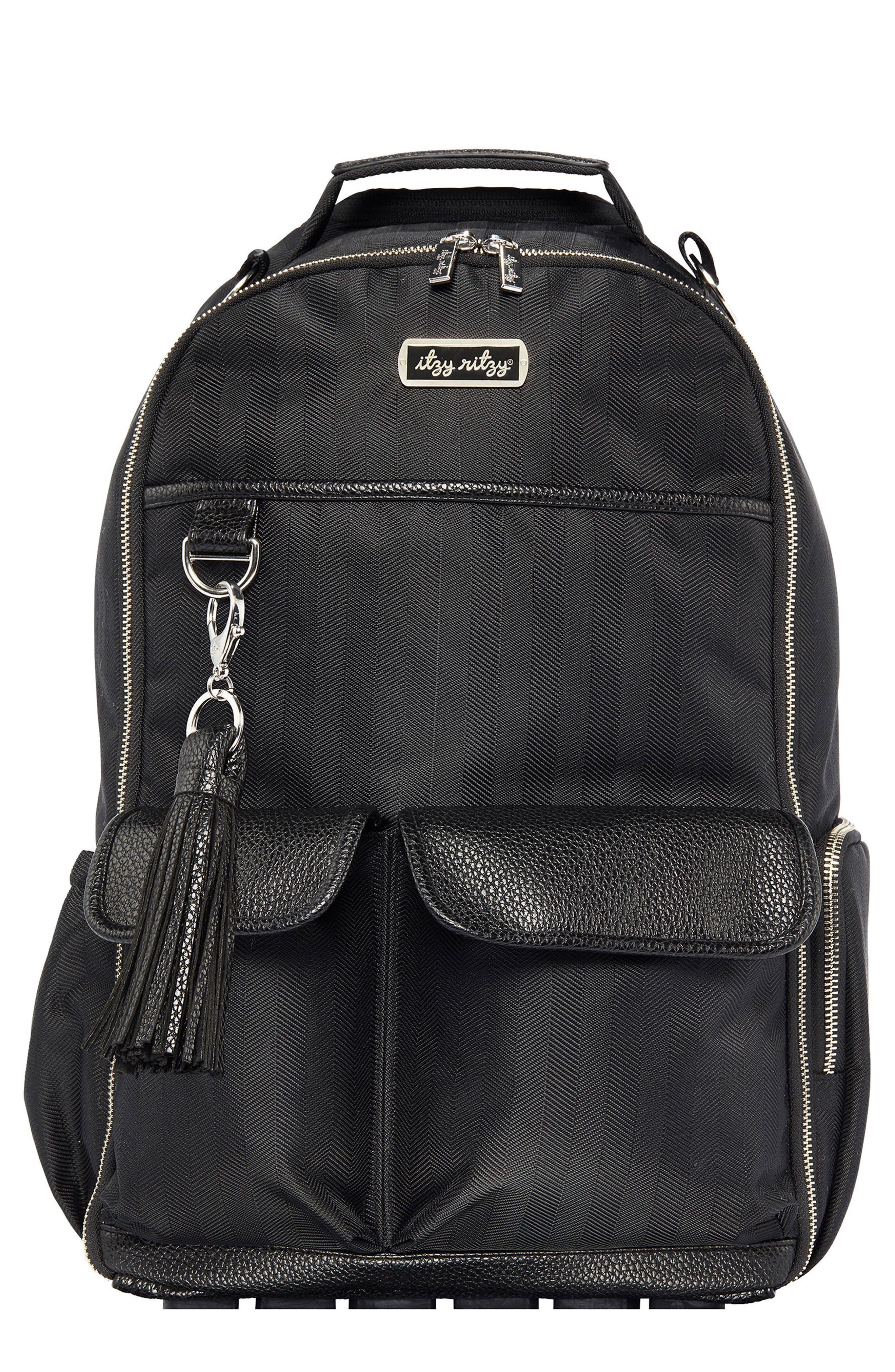 Diaper Bag Backpack,                             Main thumbnail 1, color,                             BLACK HERRINGBONE