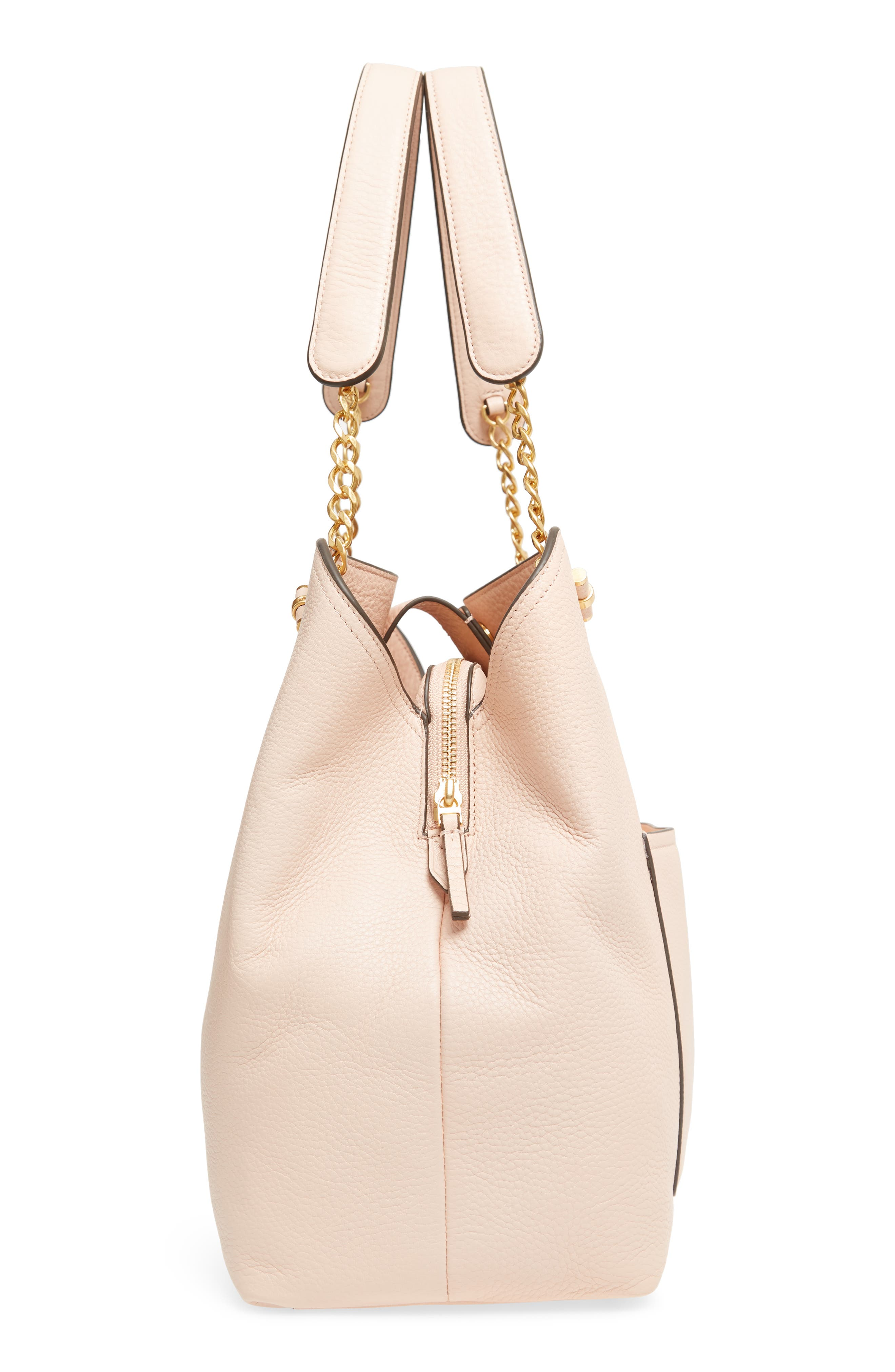 Chelsea Slouchy Leather Tote,                             Alternate thumbnail 5, color,                             PALE APRICOT