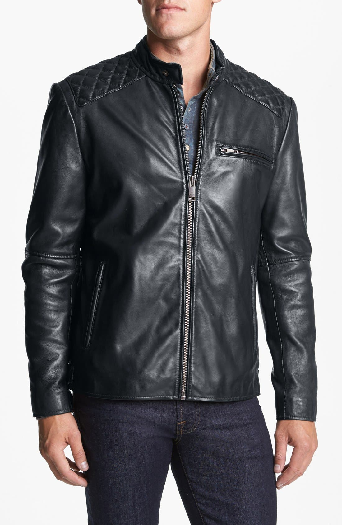 MARC NEW YORK,                             by Andrew Marc 'Quincy' Quilted Leather Moto Jacket,                             Main thumbnail 1, color,                             043