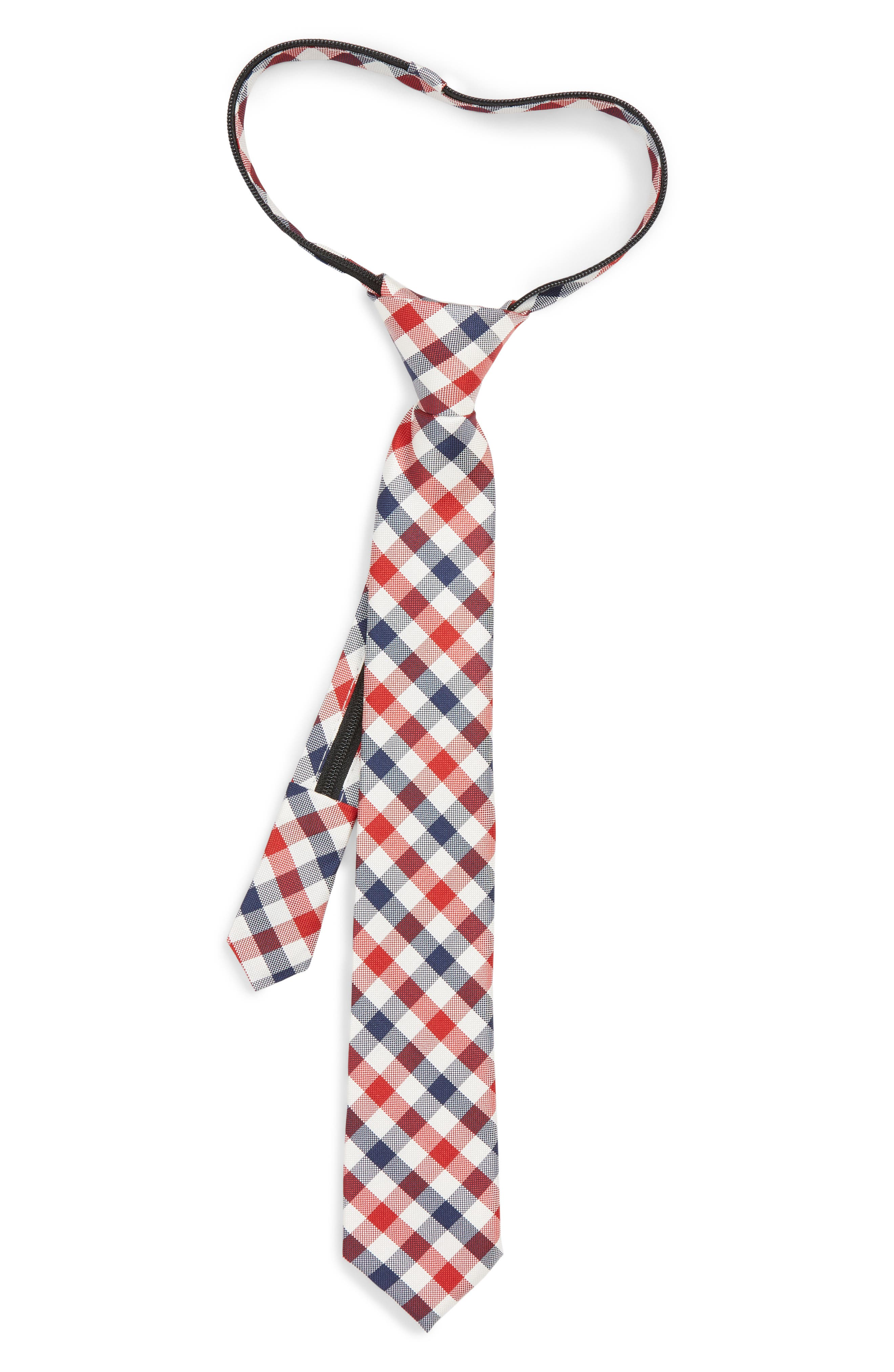 Natte Weave Silk Zip Tie,                             Main thumbnail 1, color,                             NAVY