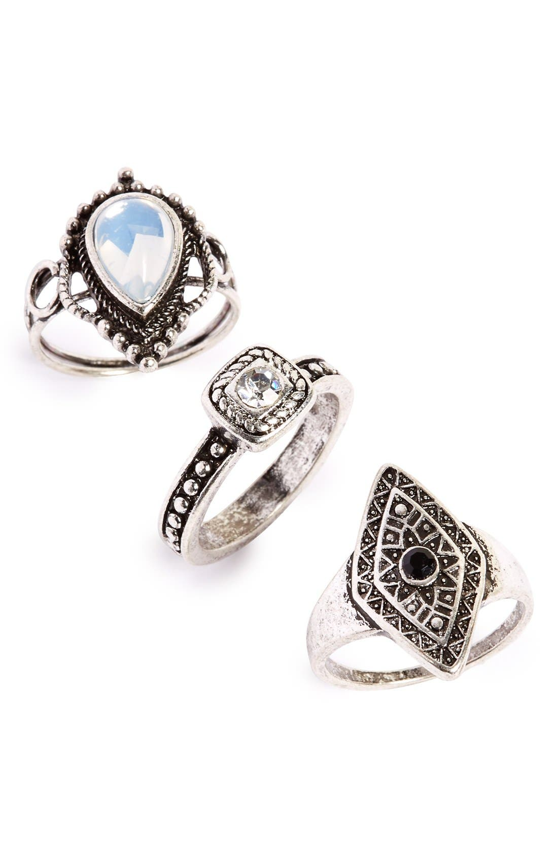 Antiqued Stone Rings,                             Main thumbnail 1, color,                             040