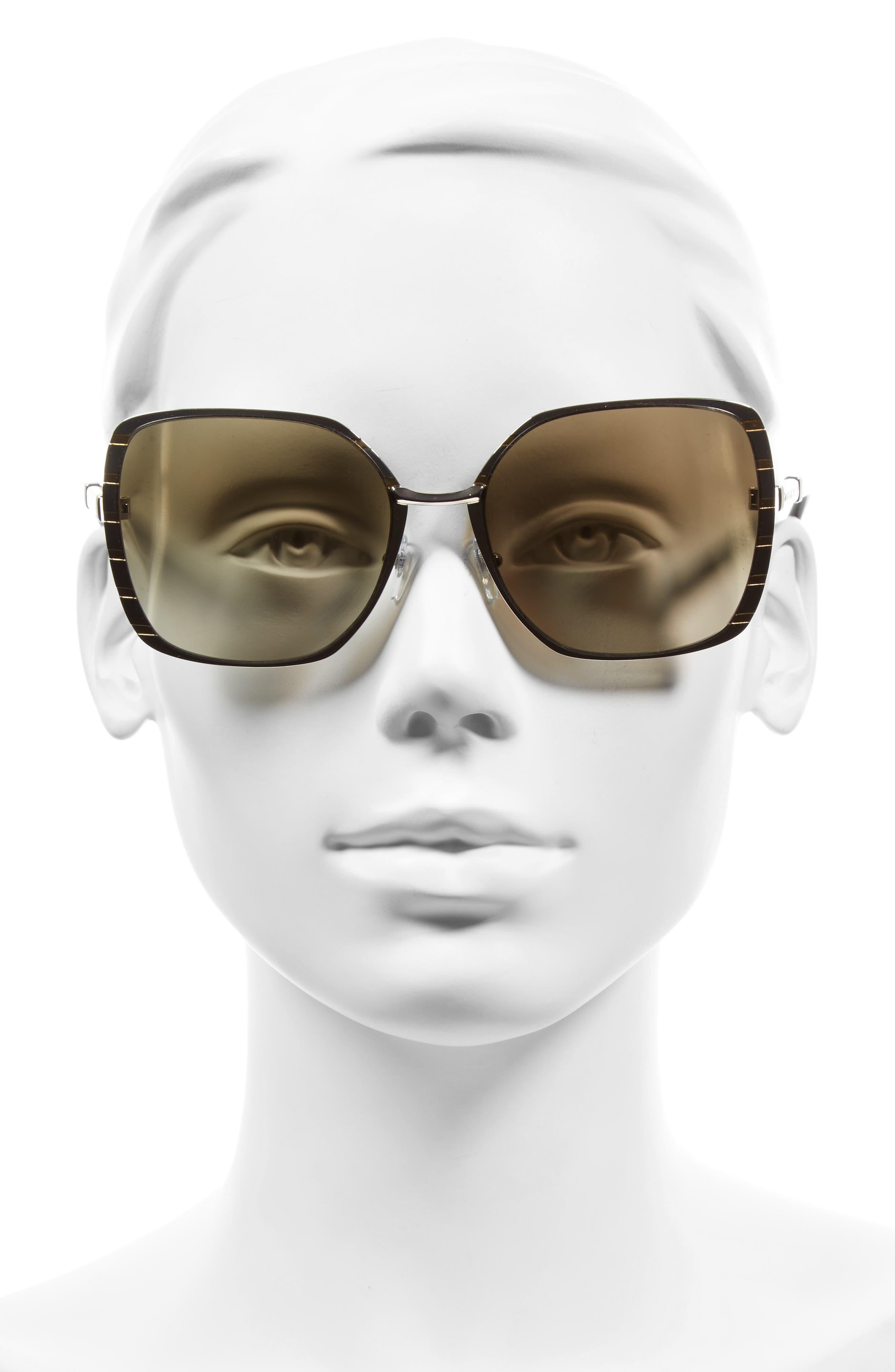 57mm Gradient Square Sunglasses,                             Alternate thumbnail 4, color,