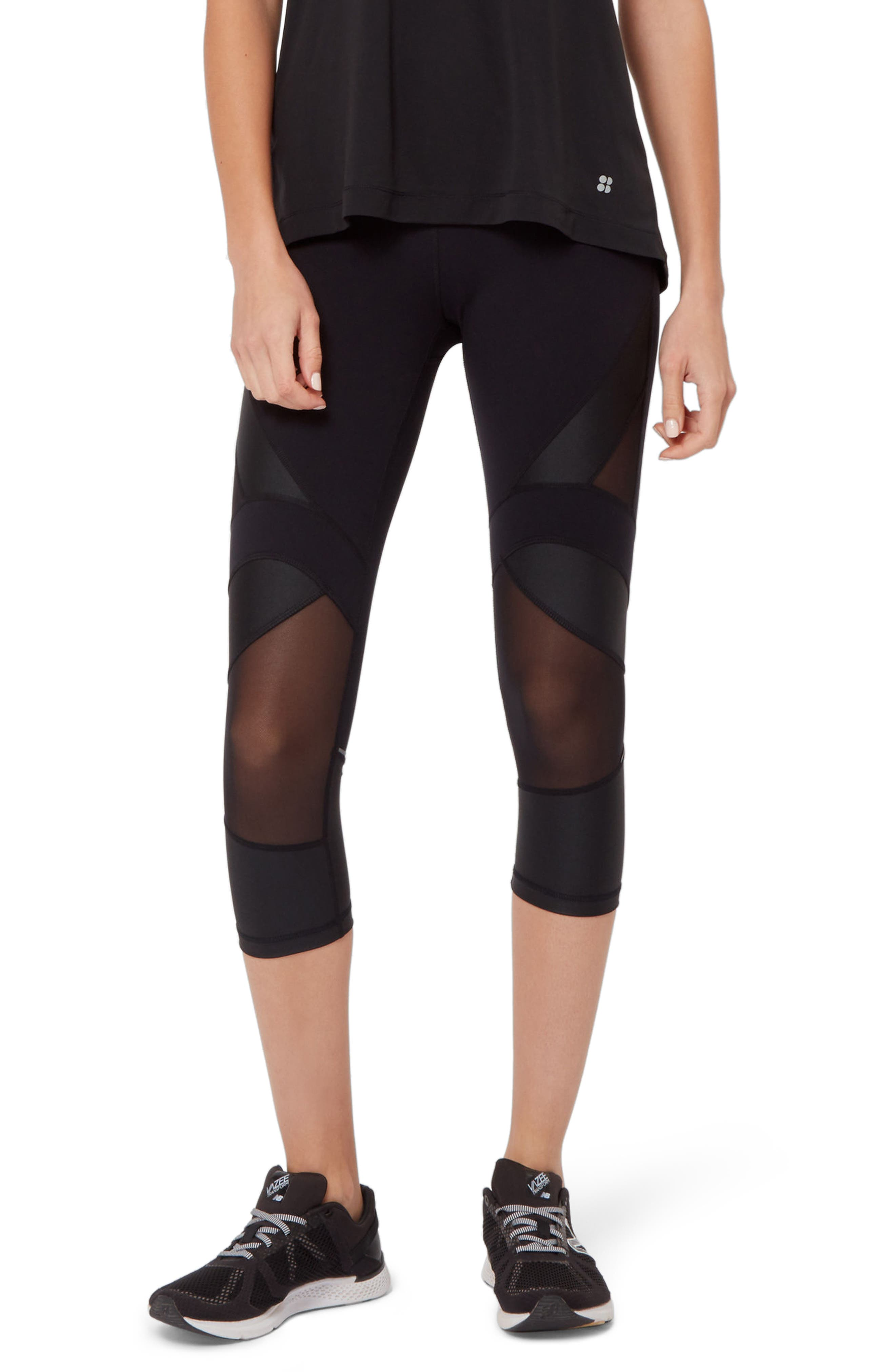 Power Wetlook Mesh 7/8 Workout Leggings,                         Main,                         color, BLACK