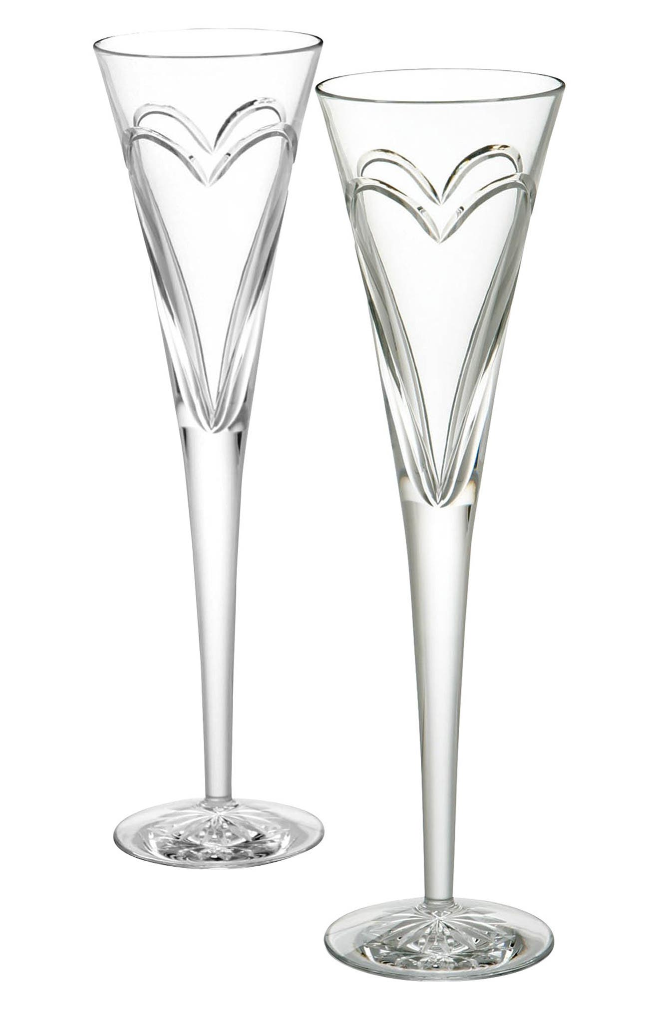 'Wishes Love & Romance' Lead Crystal Champagne Flutes,                             Alternate thumbnail 2, color,